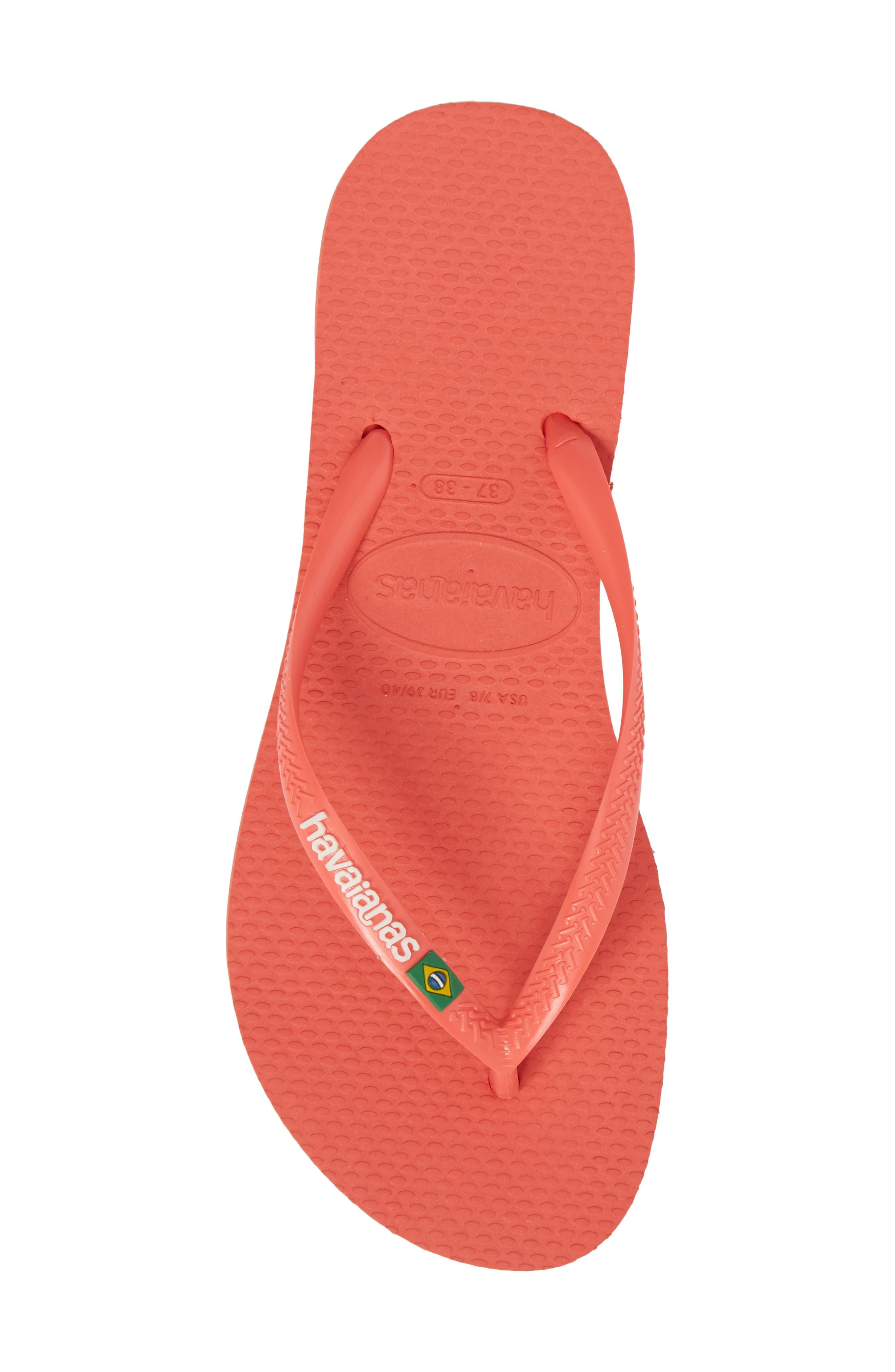 Havianas Slim Brazil Flip Flop,                             Alternate thumbnail 3, color,                             Coral