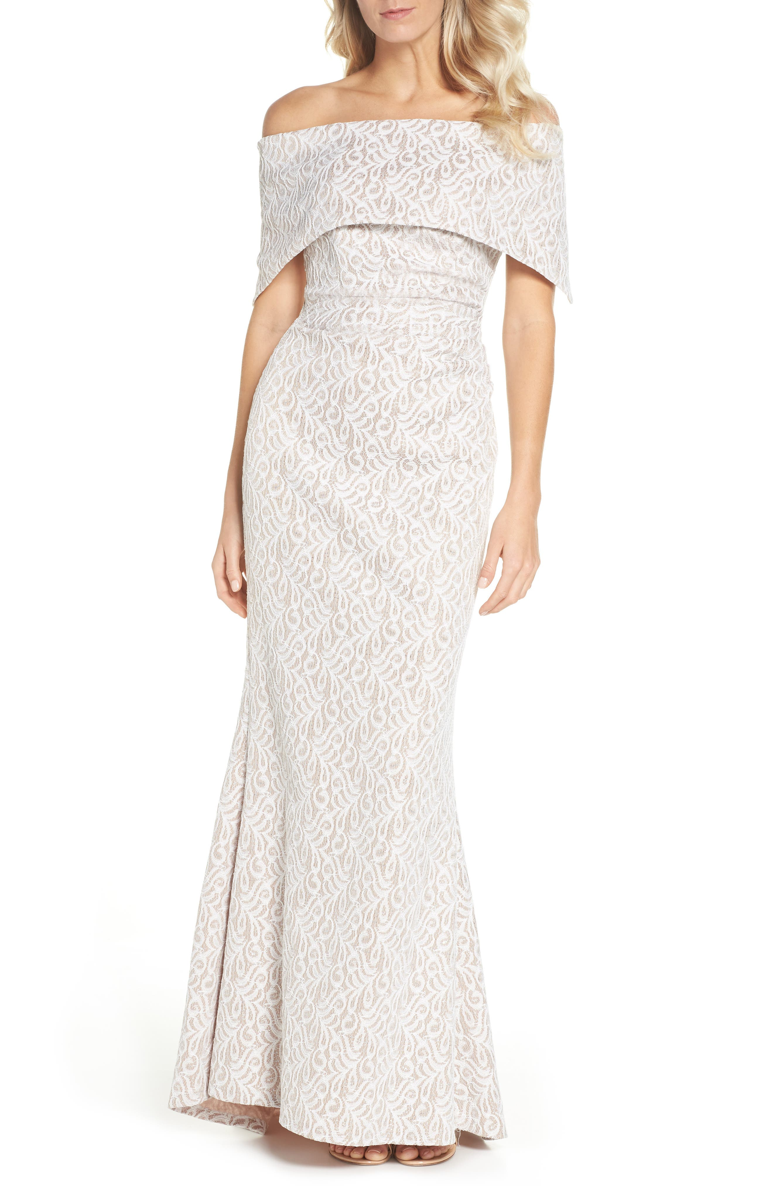 Off the Shoulder Lace Trumpet Gown,                         Main,                         color, Ivory Beige