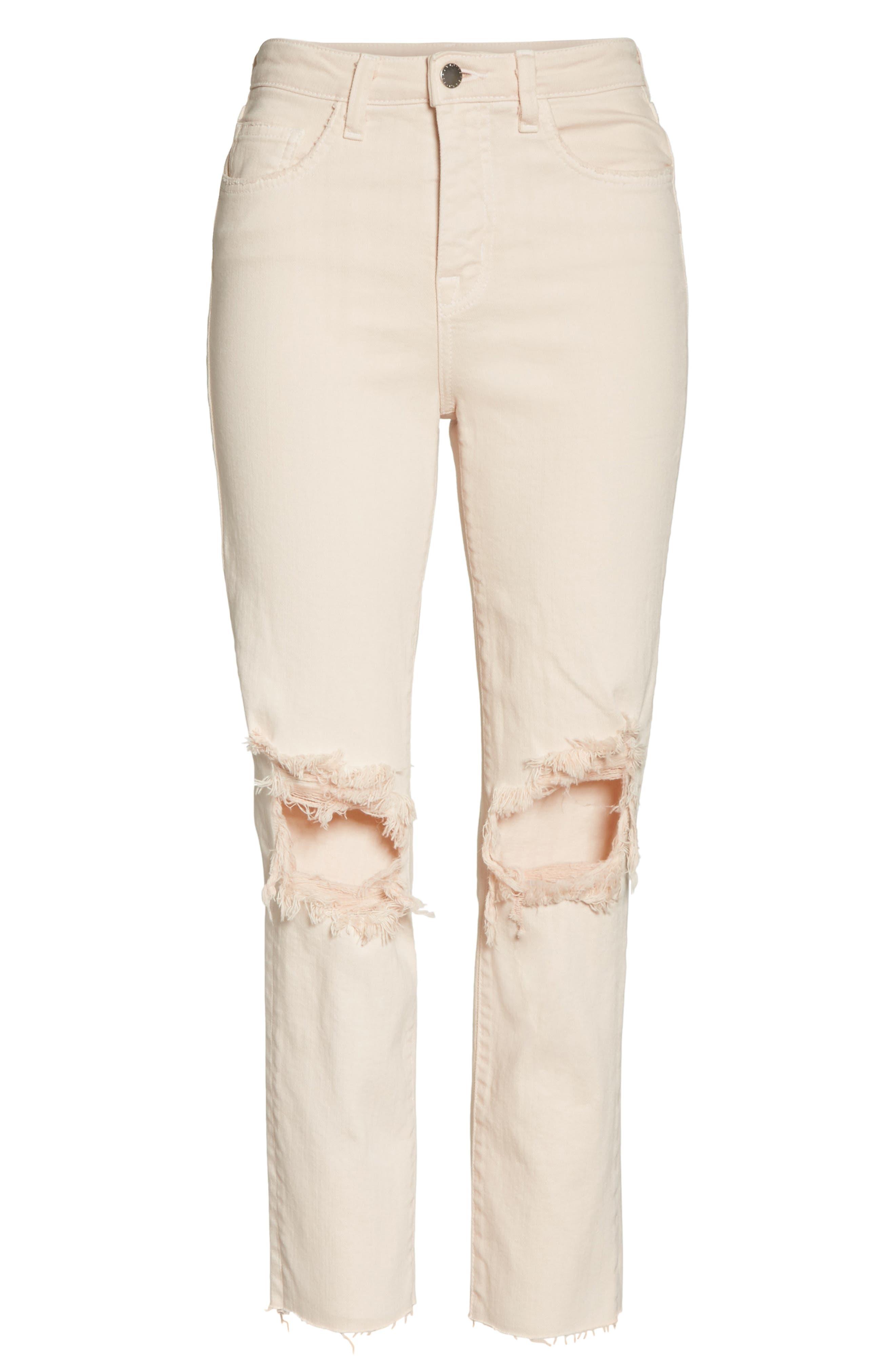 Audrina Ripped Straight Leg Crop Jeans,                             Alternate thumbnail 6, color,                             Quartz Worn Destruct