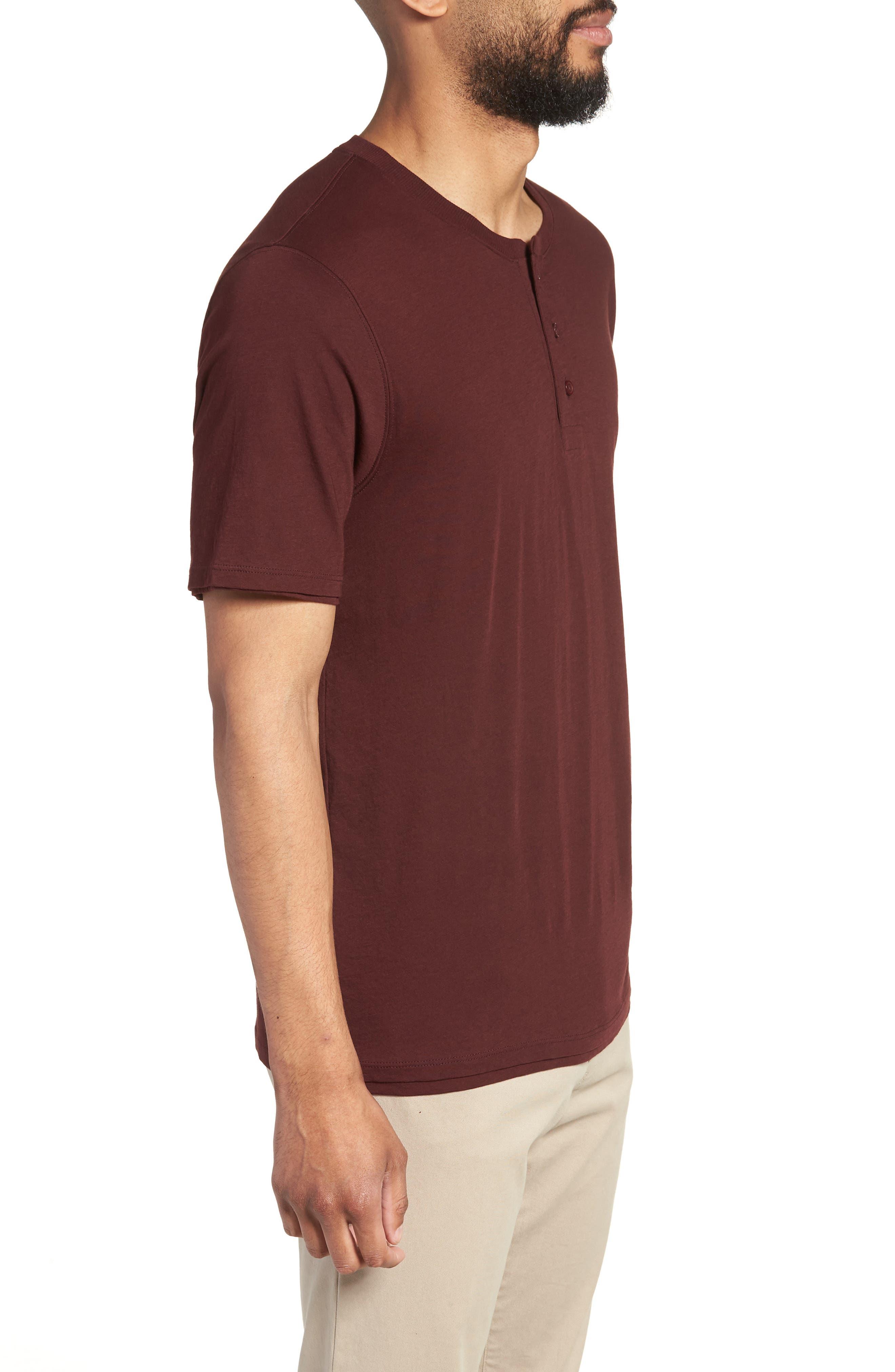 Layered Henley T-Shirt,                             Alternate thumbnail 3, color,                             Black Cherry