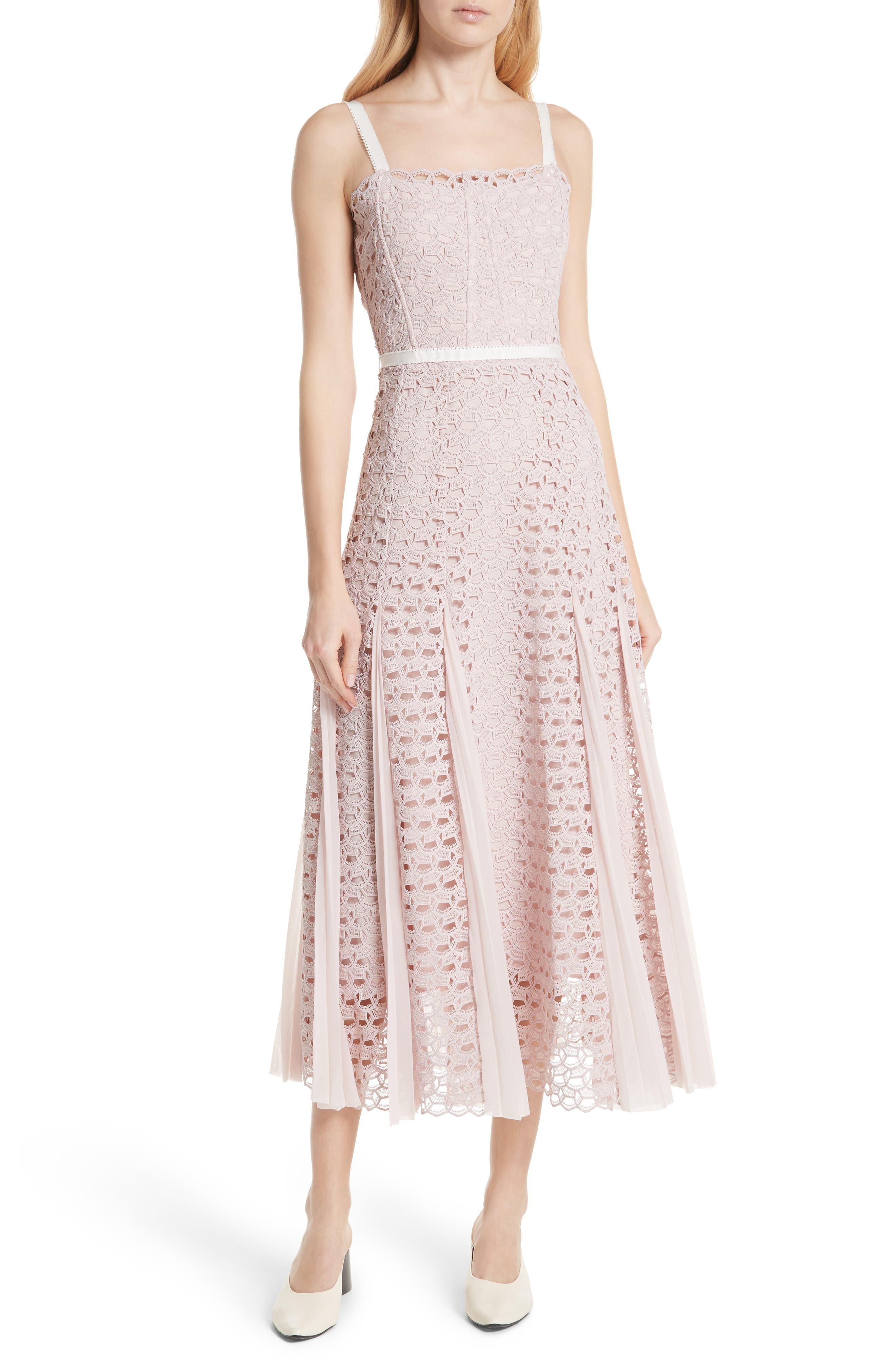 sandro Scallop Lace Midi Dress (Nordstrom Exclusive)