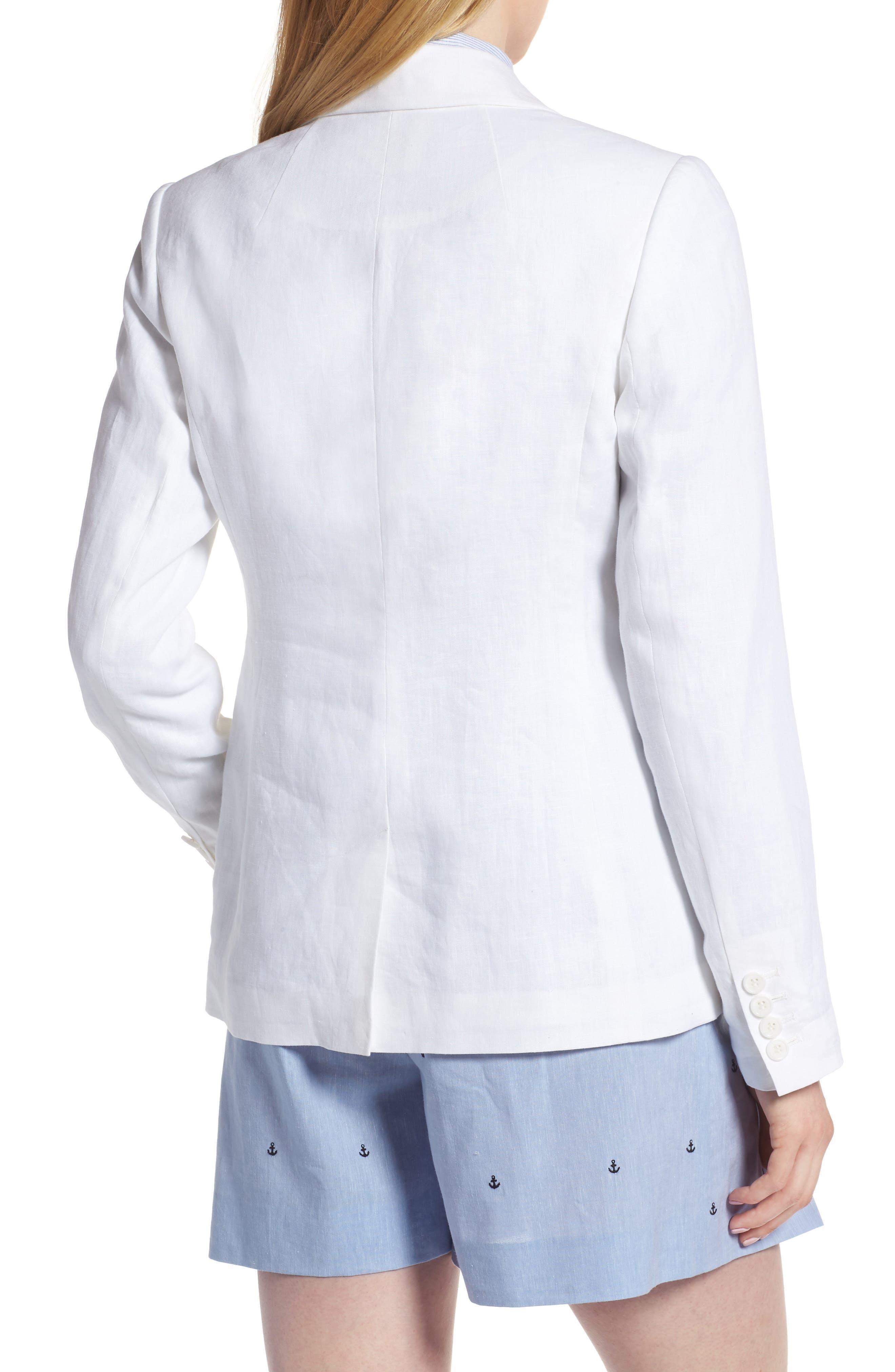 Linen Blend Blazer,                             Alternate thumbnail 2, color,                             White