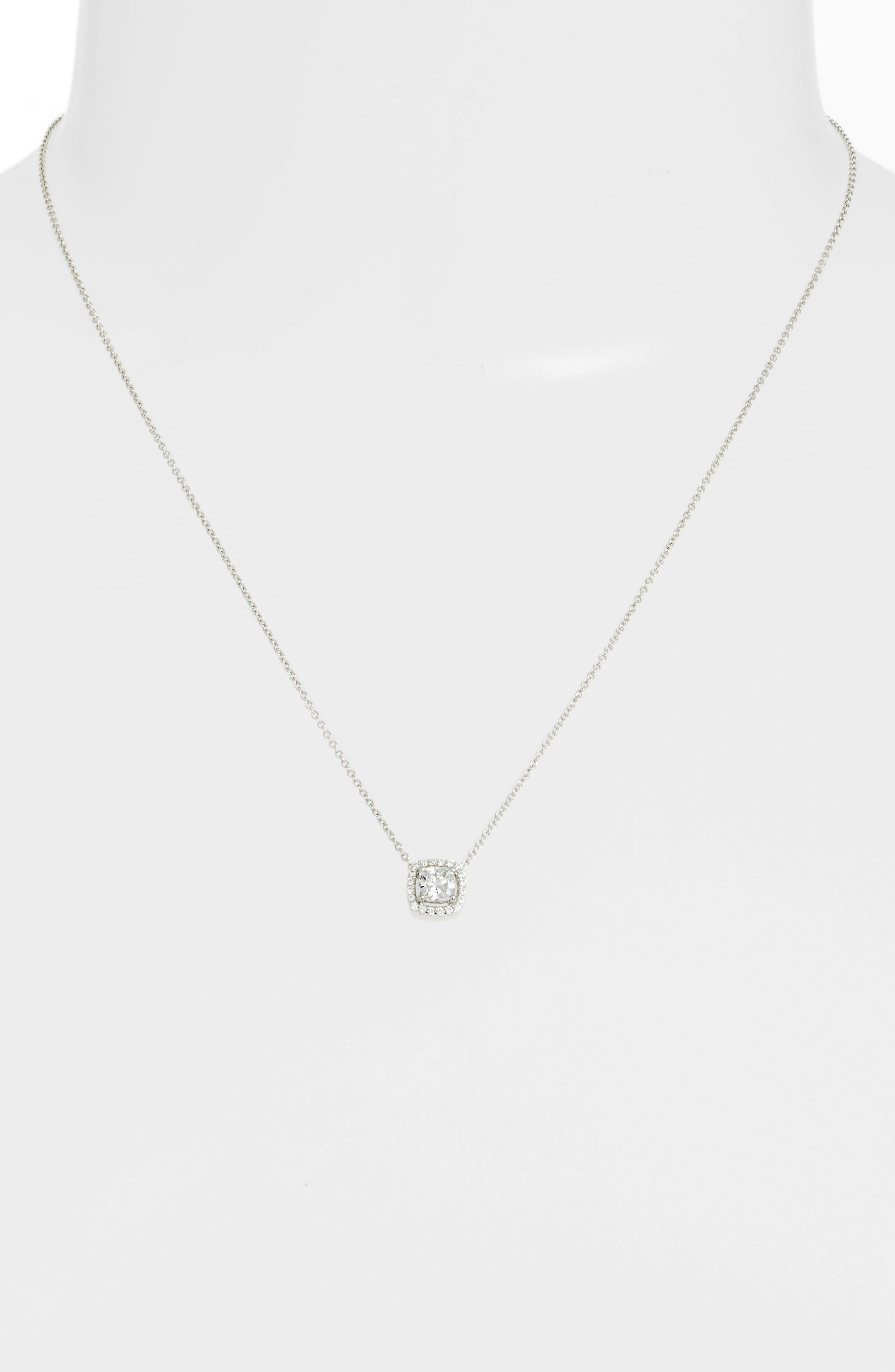 Cushion Cut Halo Necklace,                             Alternate thumbnail 2, color,                             Silver/ Clear