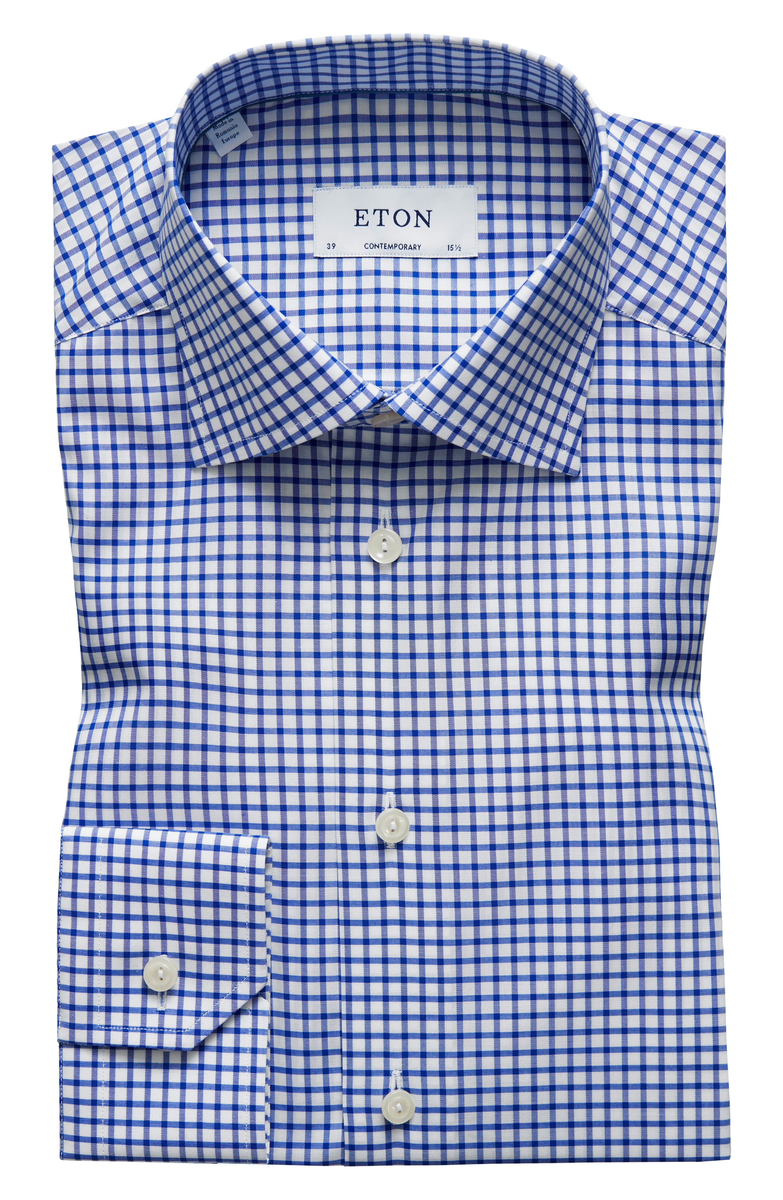 Contemporary Fit Check Dress Shirt,                             Main thumbnail 1, color,                             Blue