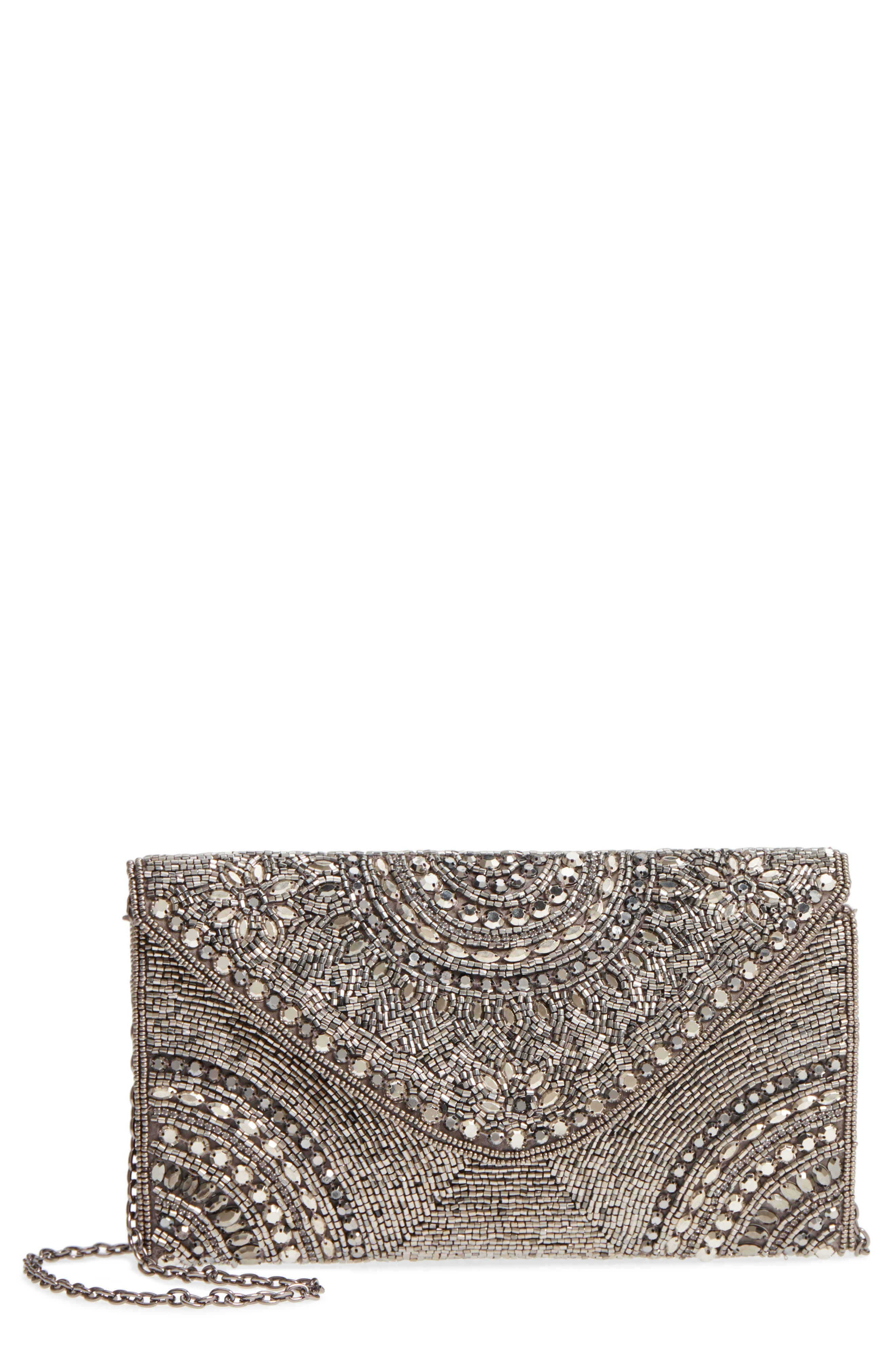 Alhambra Beaded Envelope Clutch,                         Main,                         color, Pewter