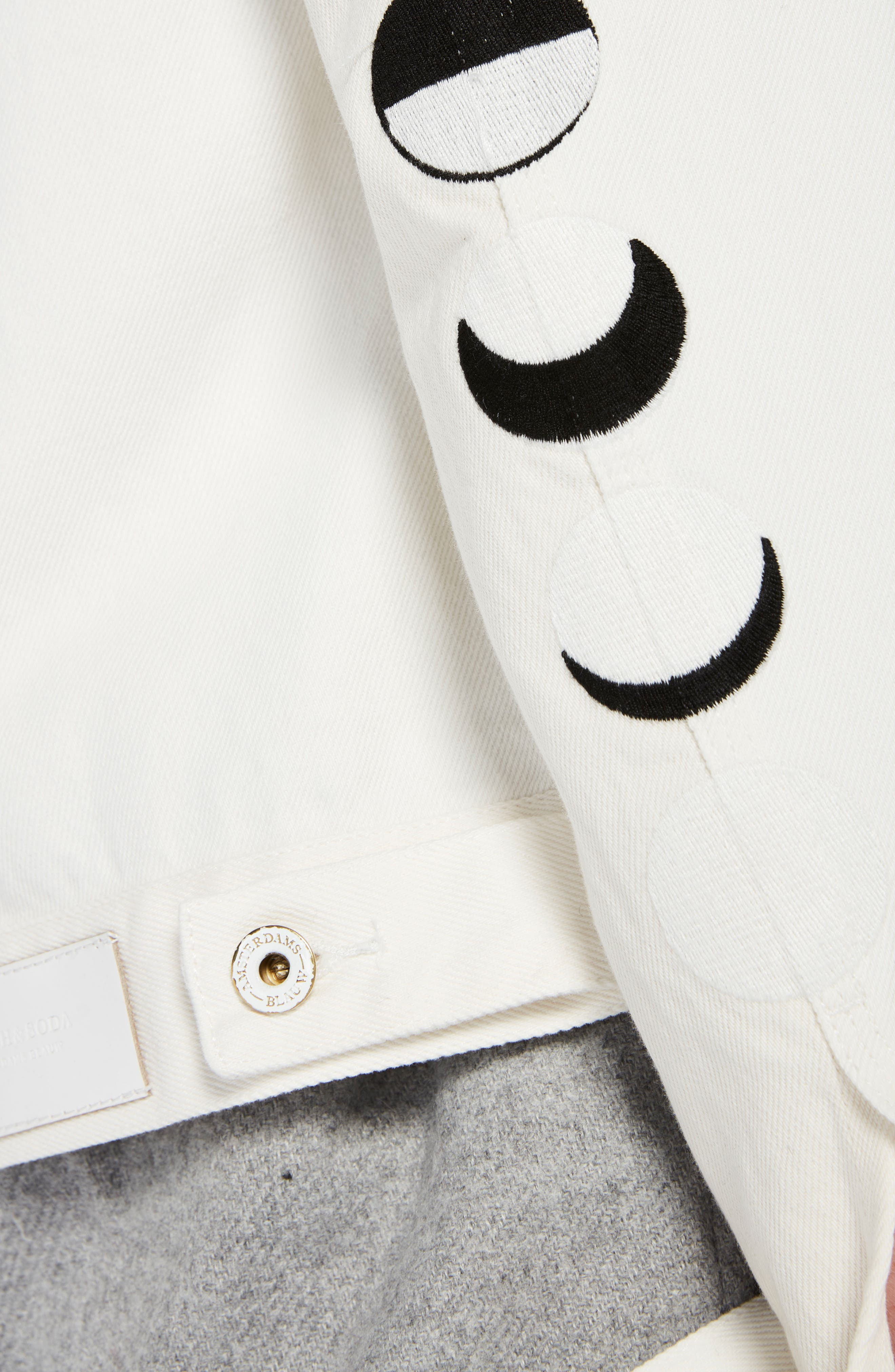 Moon Embroidered Denim Jacket with Scarf,                             Alternate thumbnail 4, color,                             03 Off White