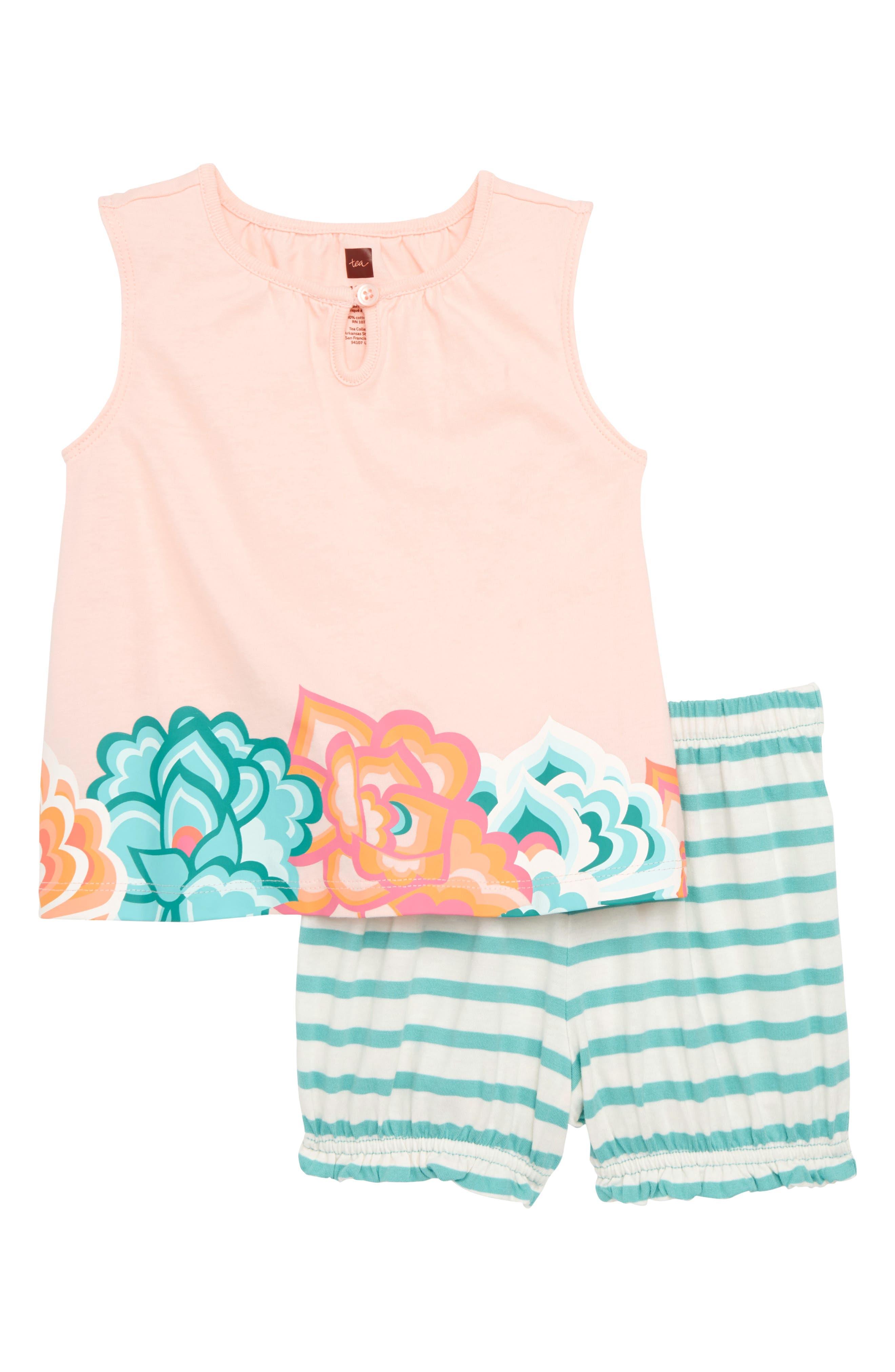 Floral Ruffle Top & Shorts Set,                             Main thumbnail 1, color,                             Pink Gloss