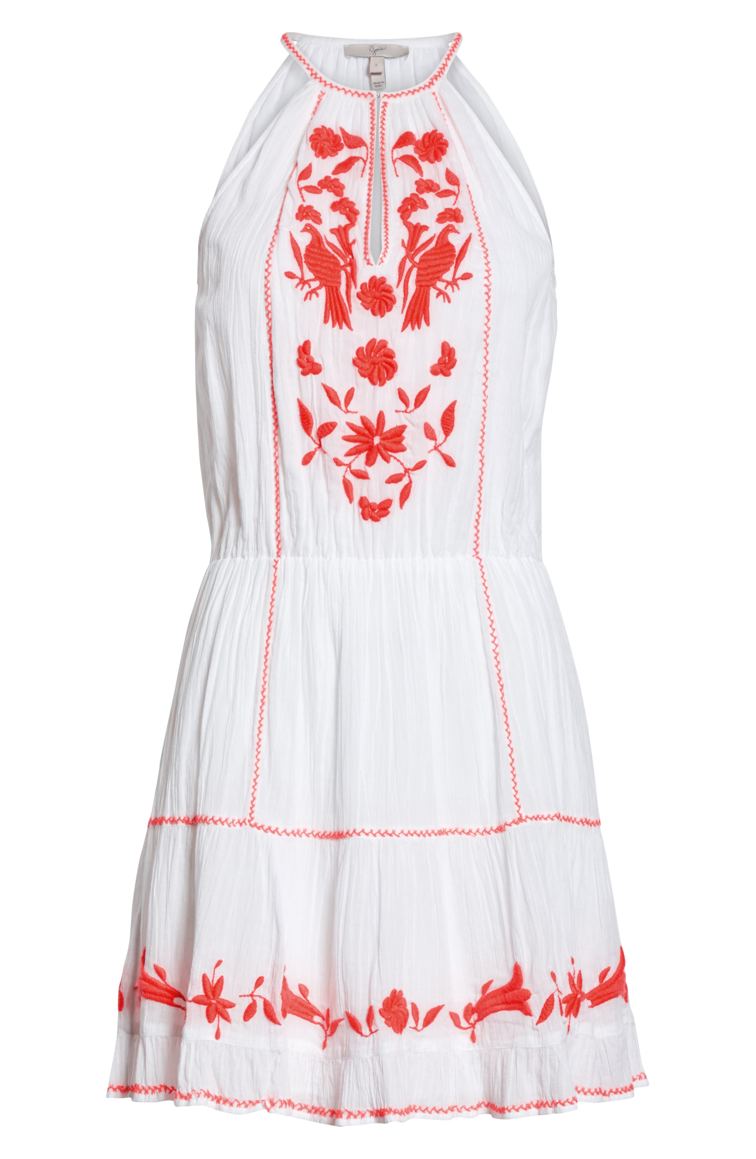 Clemency Embroidered Cotton Gauze Dress,                             Alternate thumbnail 6, color,                             Clean White Salsa