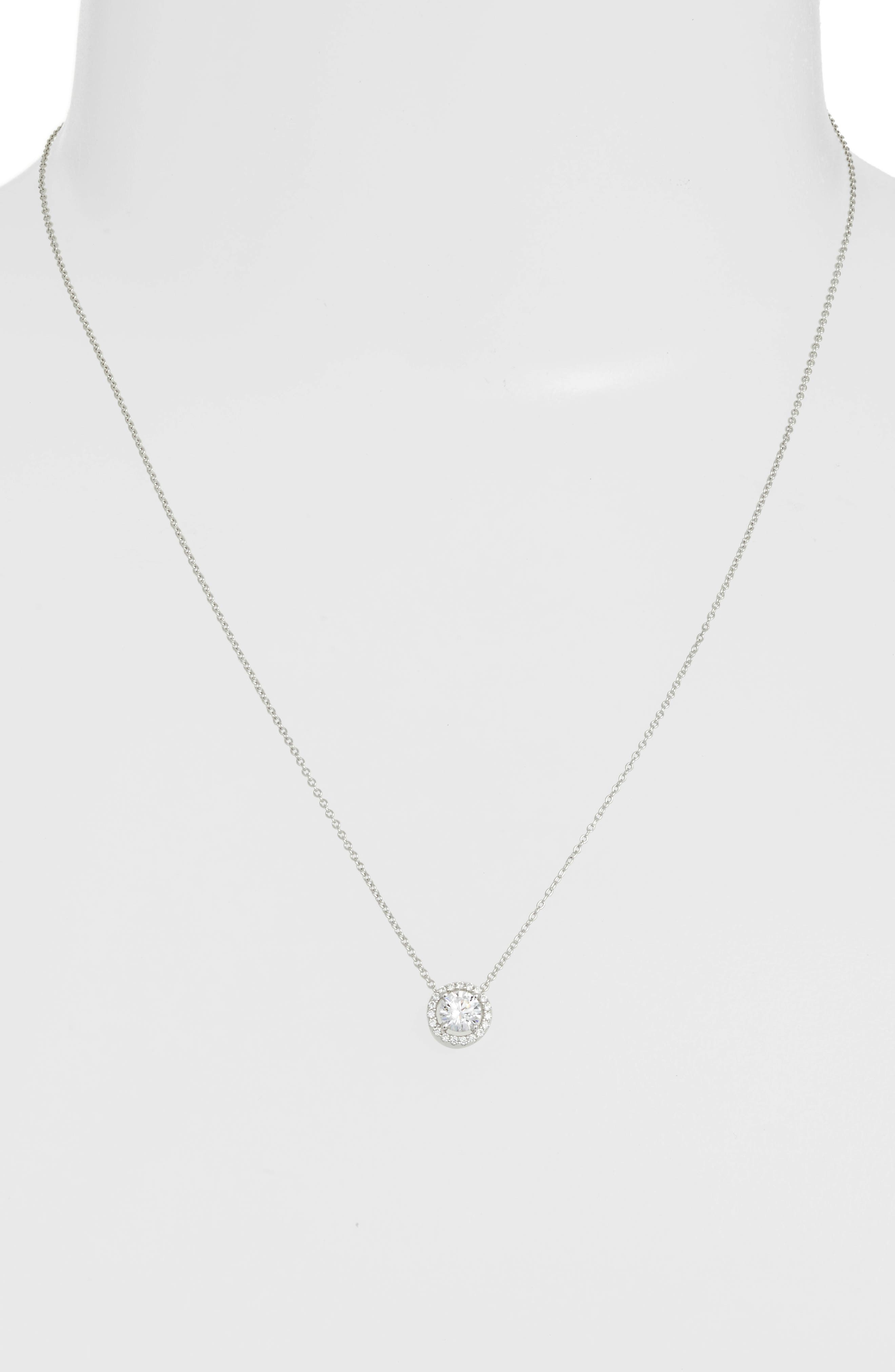 Round Halo Necklace,                             Alternate thumbnail 3, color,                             Silver/ Clear