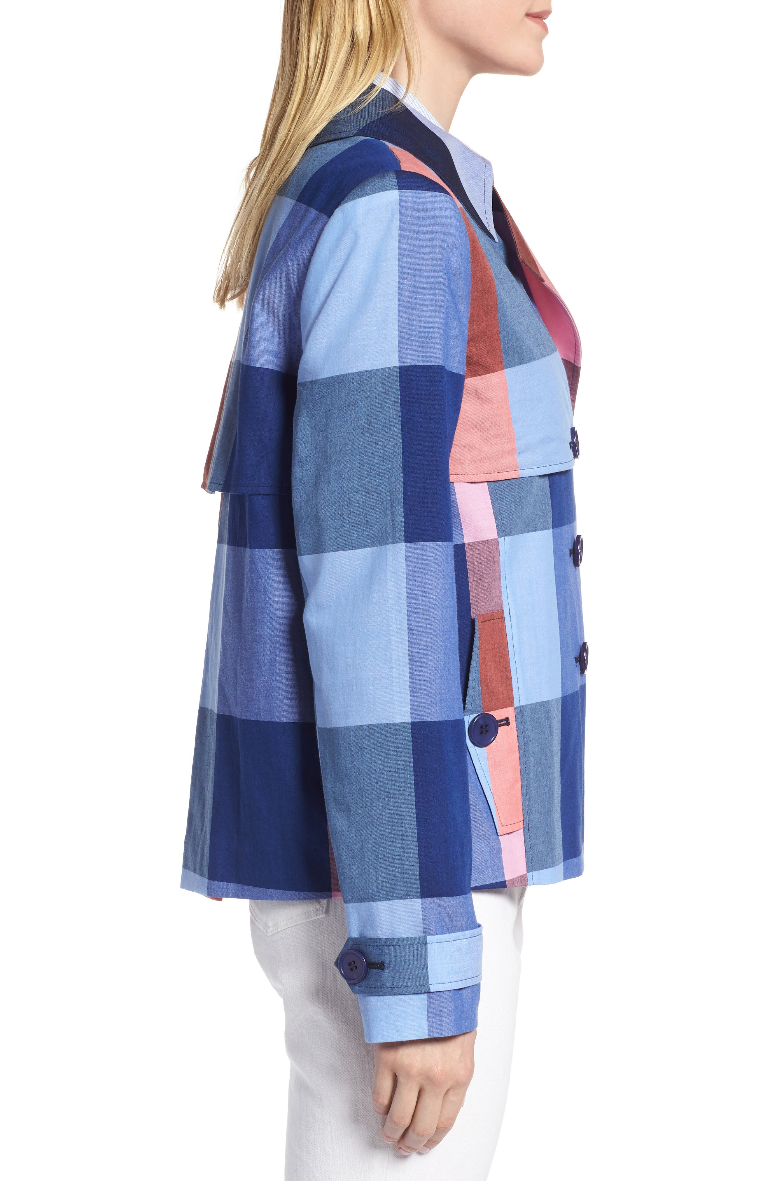 Double Breasted Plaid Cotton Blazer,                             Alternate thumbnail 3, color,                             Pink- Blue Plaid