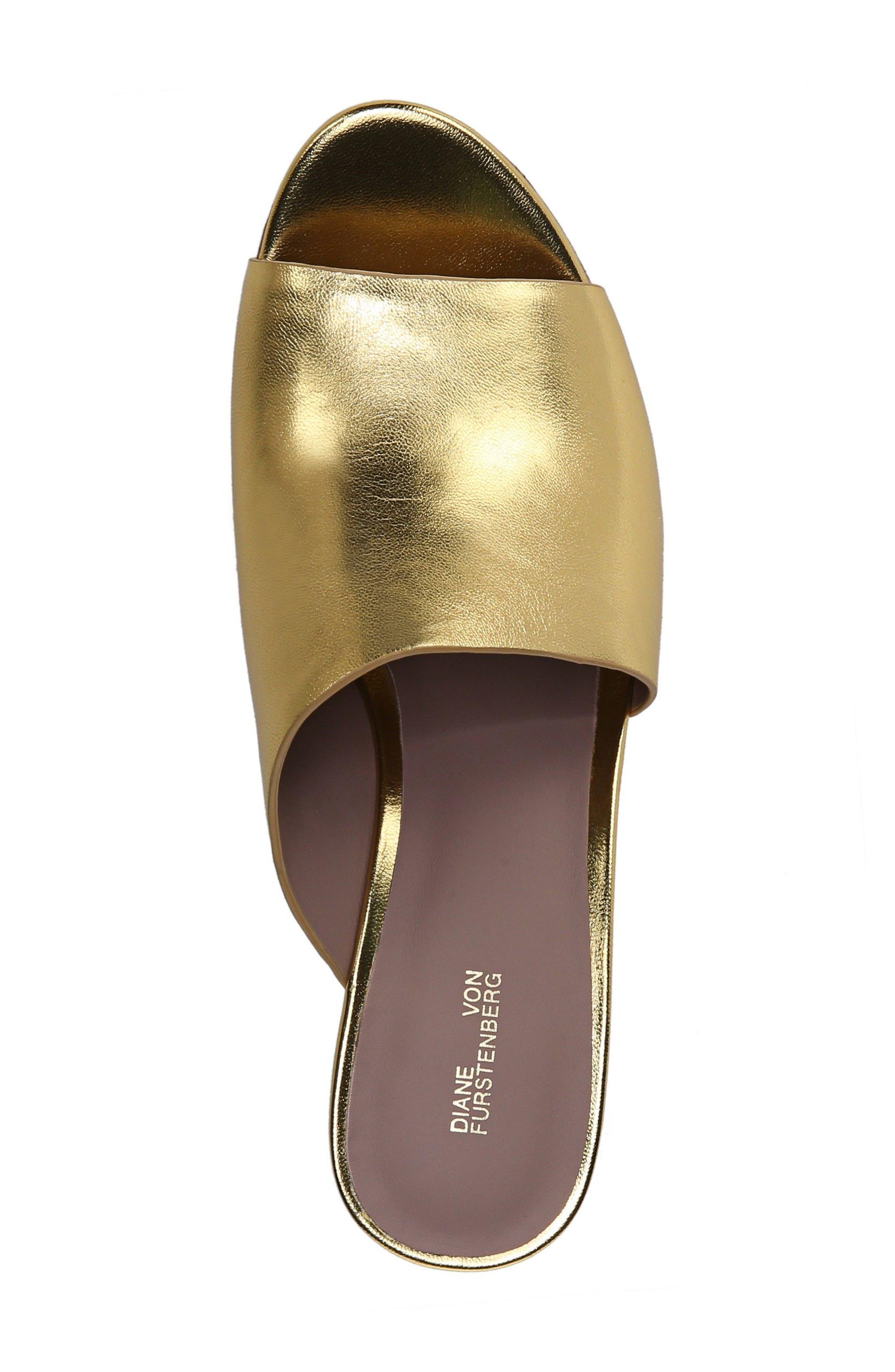 Bonnie Wedge Slide Sandal,                             Alternate thumbnail 4, color,                             Gold