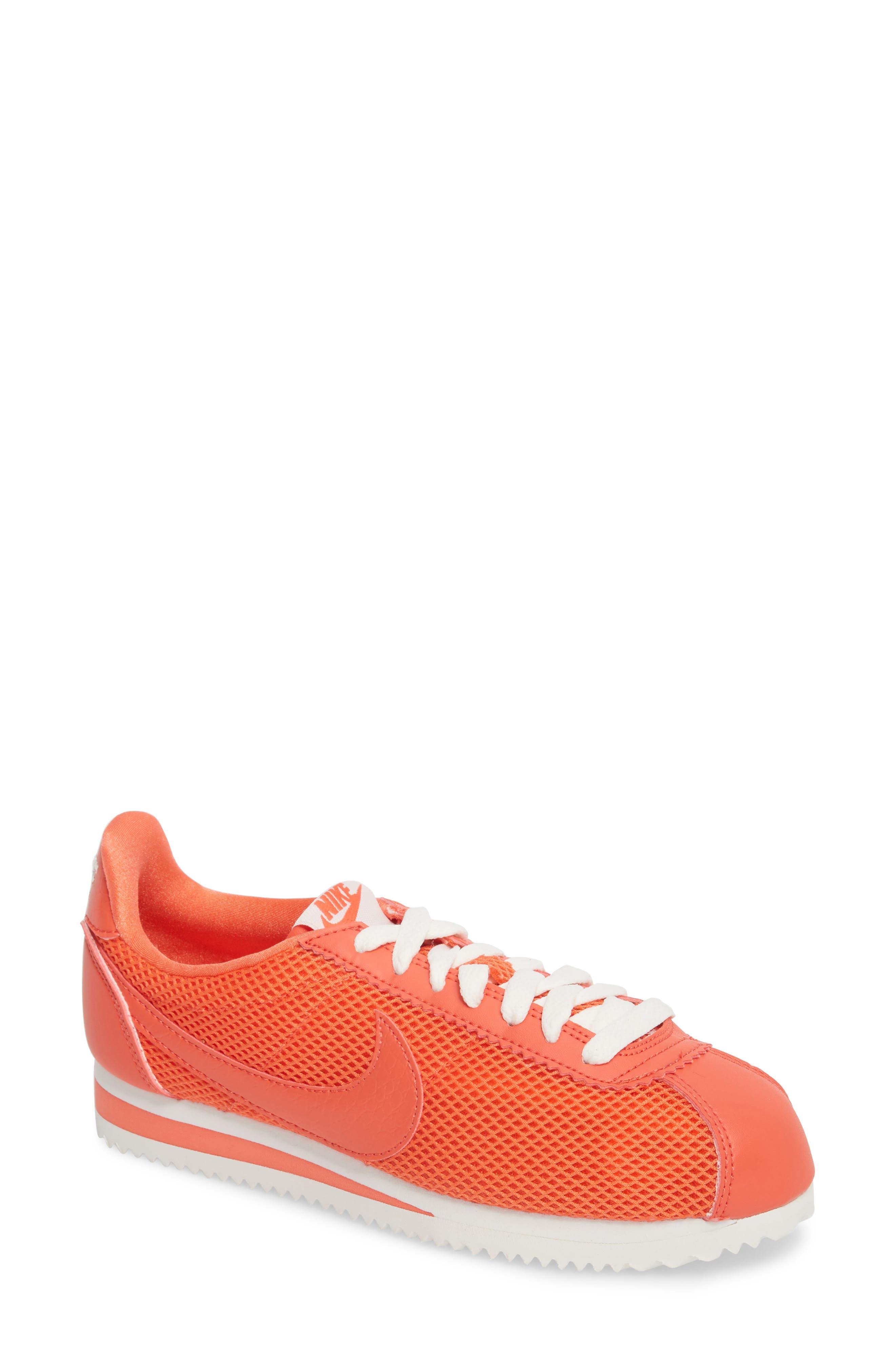 Classic Cortez Premium Sneaker,                             Main thumbnail 1, color,                             Rush Coral/ Summit White