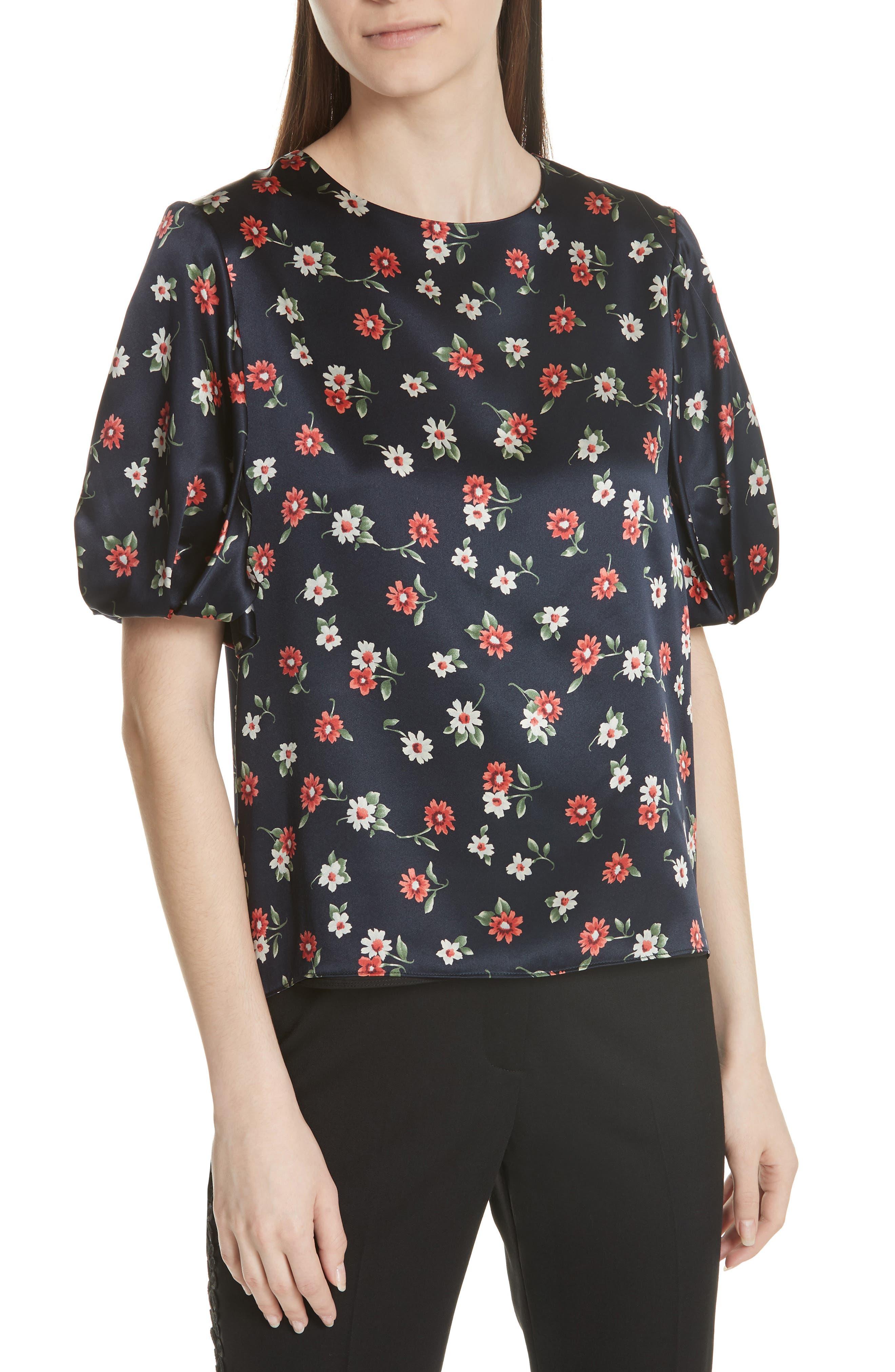 Melinda Puff Sleeve Floral Blouse,                             Main thumbnail 1, color,                             Multi