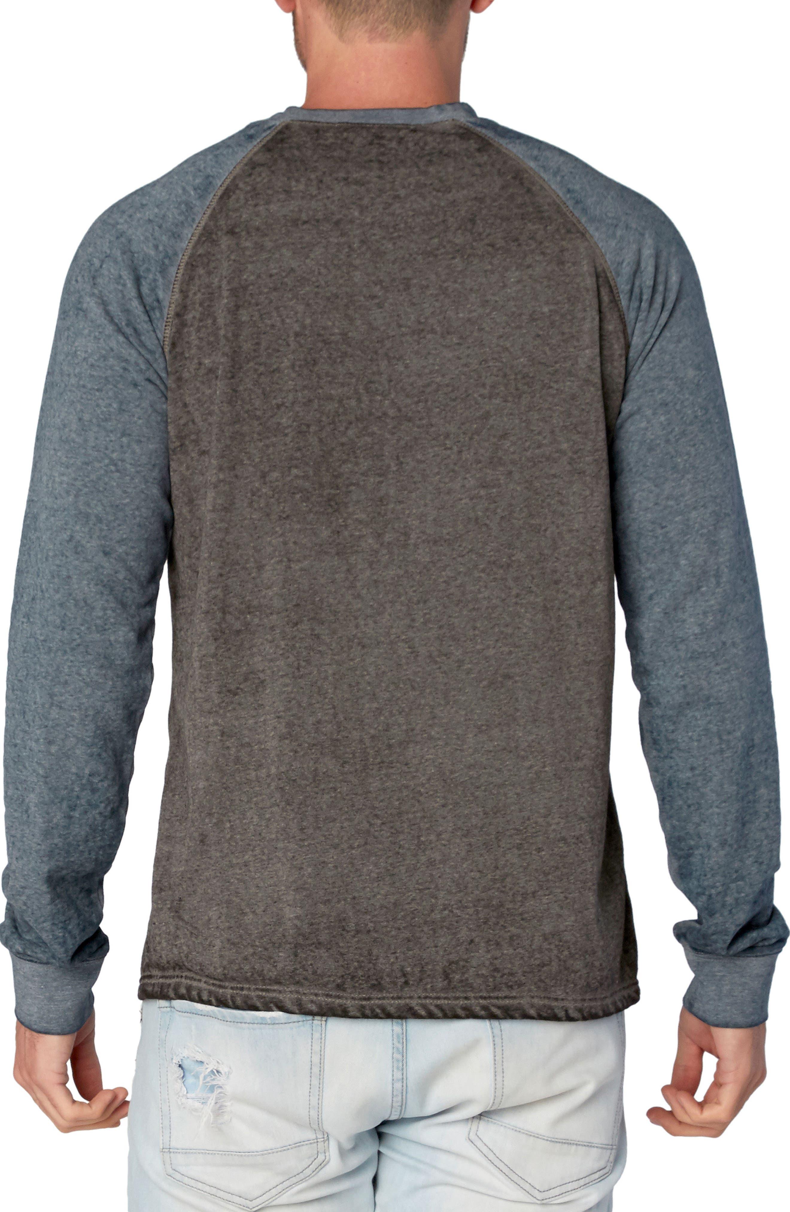 Washed Raglan Sleeve Sweatshirt,                             Alternate thumbnail 2, color,                             Black/ Raw Denim