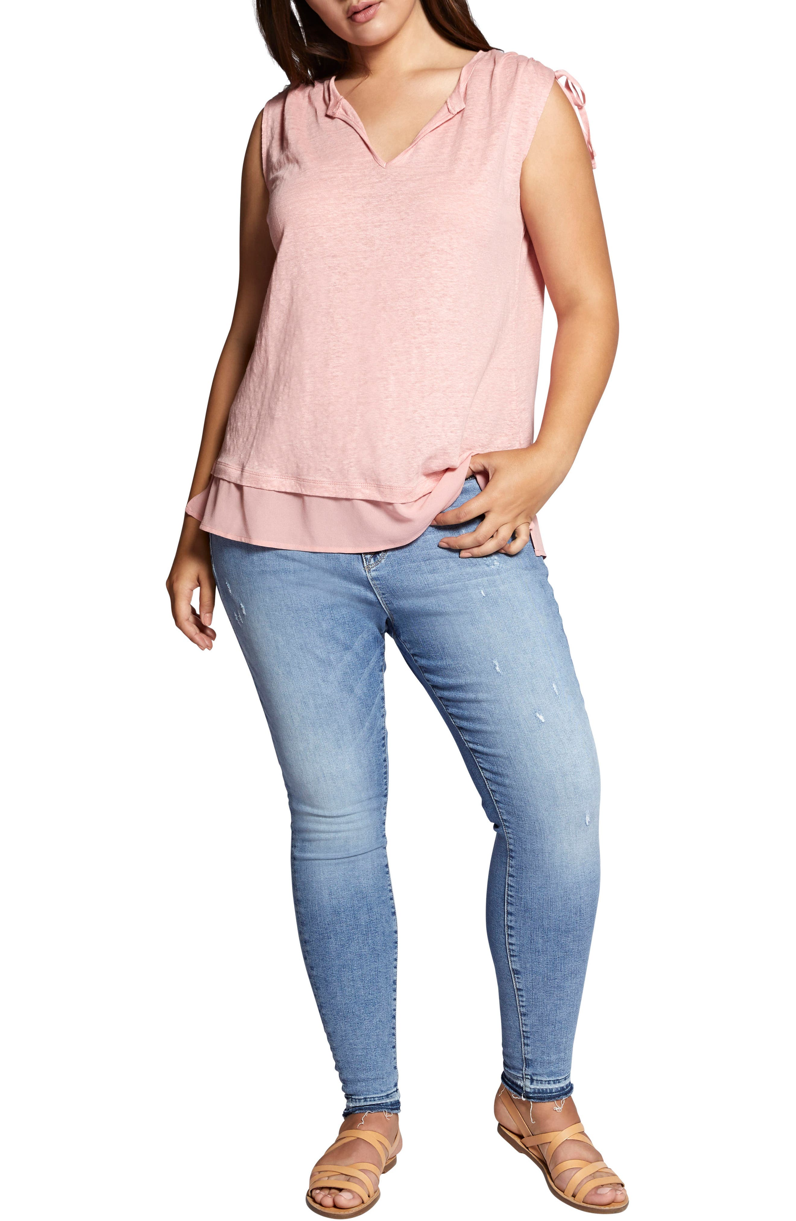 Nora Tiered Hem Linen Top,                             Alternate thumbnail 4, color,                             Adobe