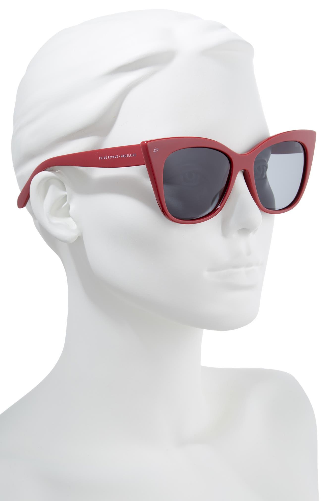 Privé Revaux x Madelaine Petsch The Mister 54mm Cat Eye Sunglasses,                             Alternate thumbnail 3, color,                             Red/ Black