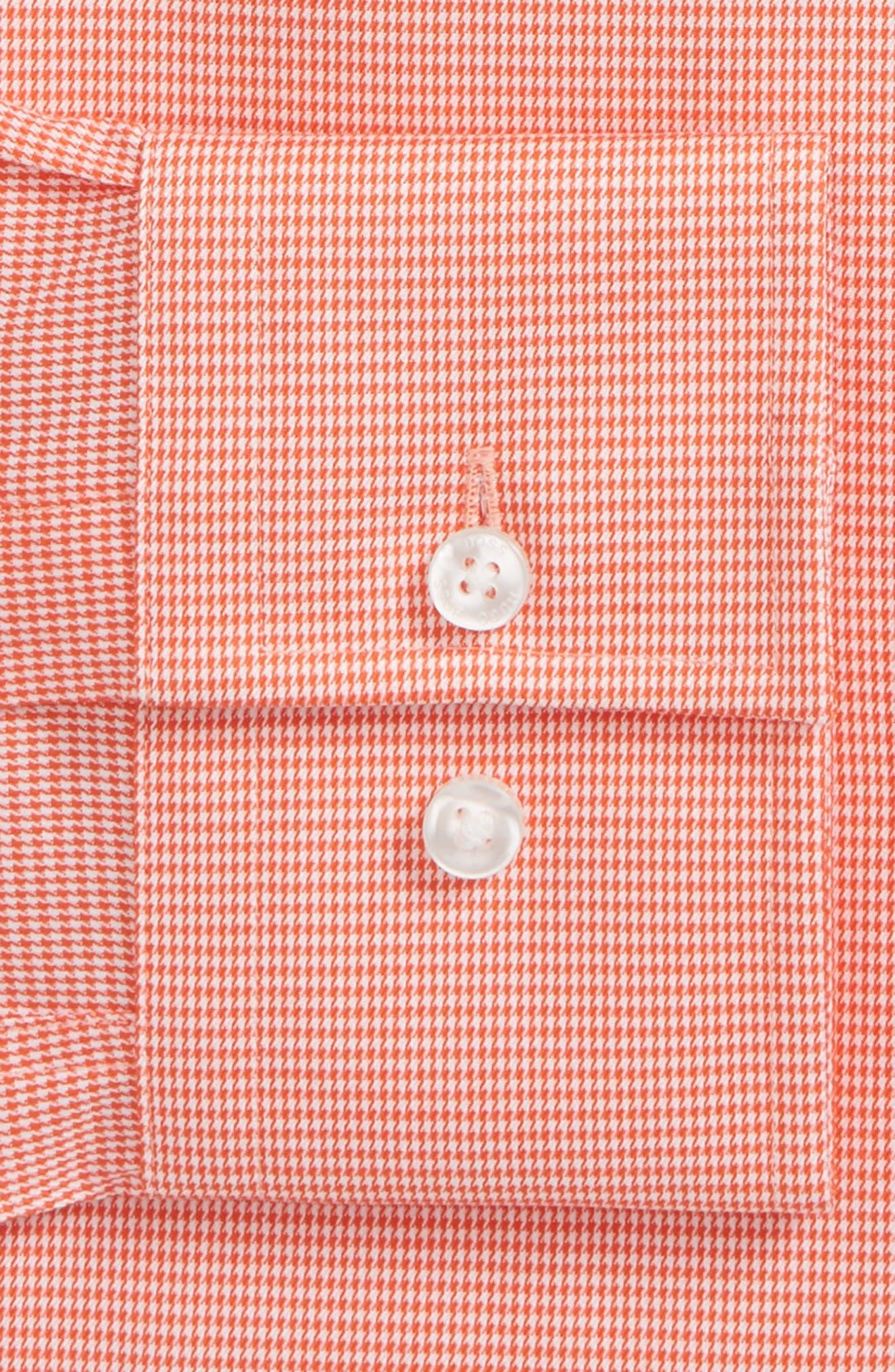 Jason Slim Fit Houndstooth Dress Shirt,                             Alternate thumbnail 2, color,                             Orange
