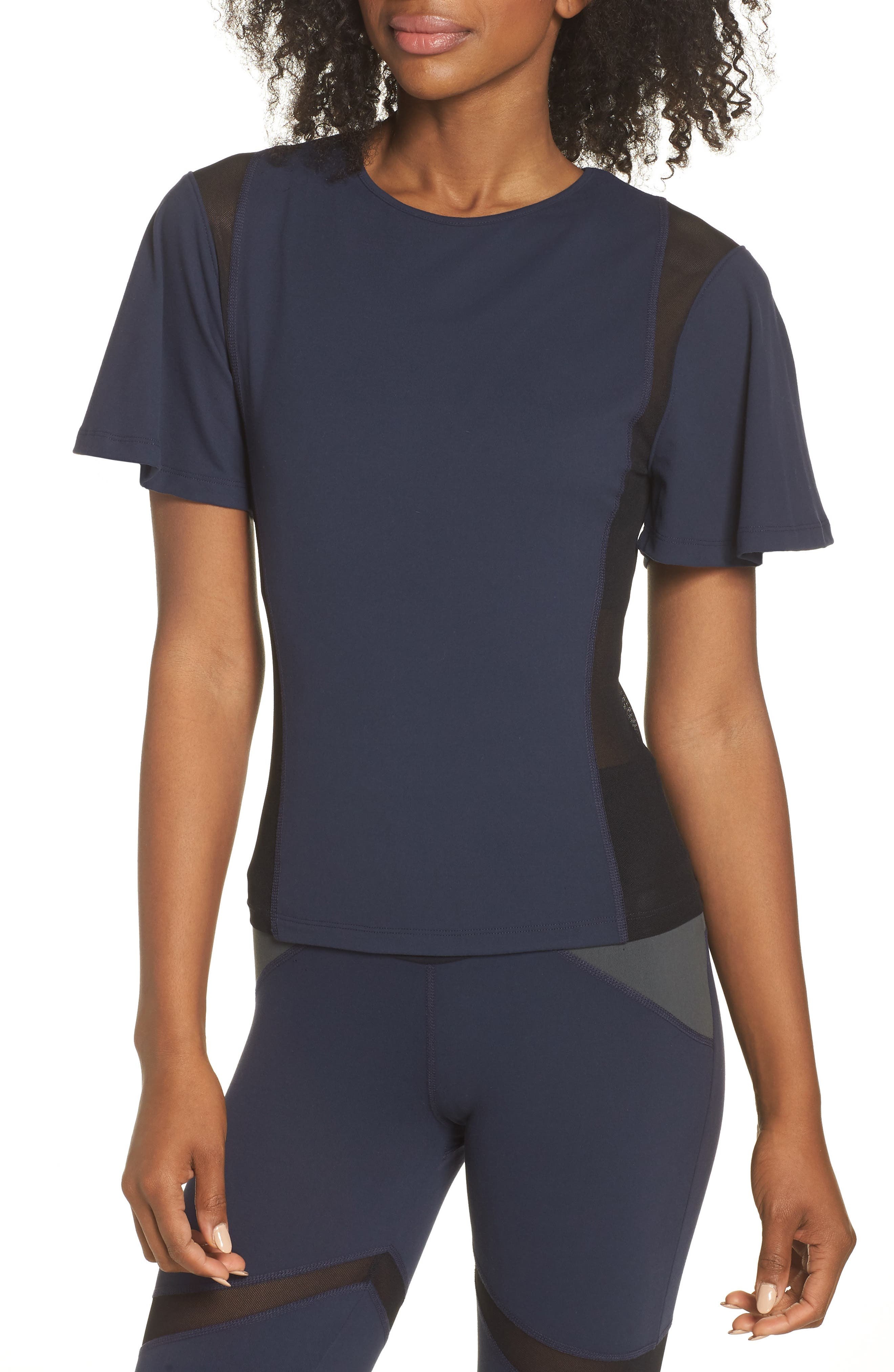 BoomBoom Athletica Wing Sleeve Tee,                             Main thumbnail 1, color,                             Navy/ Black