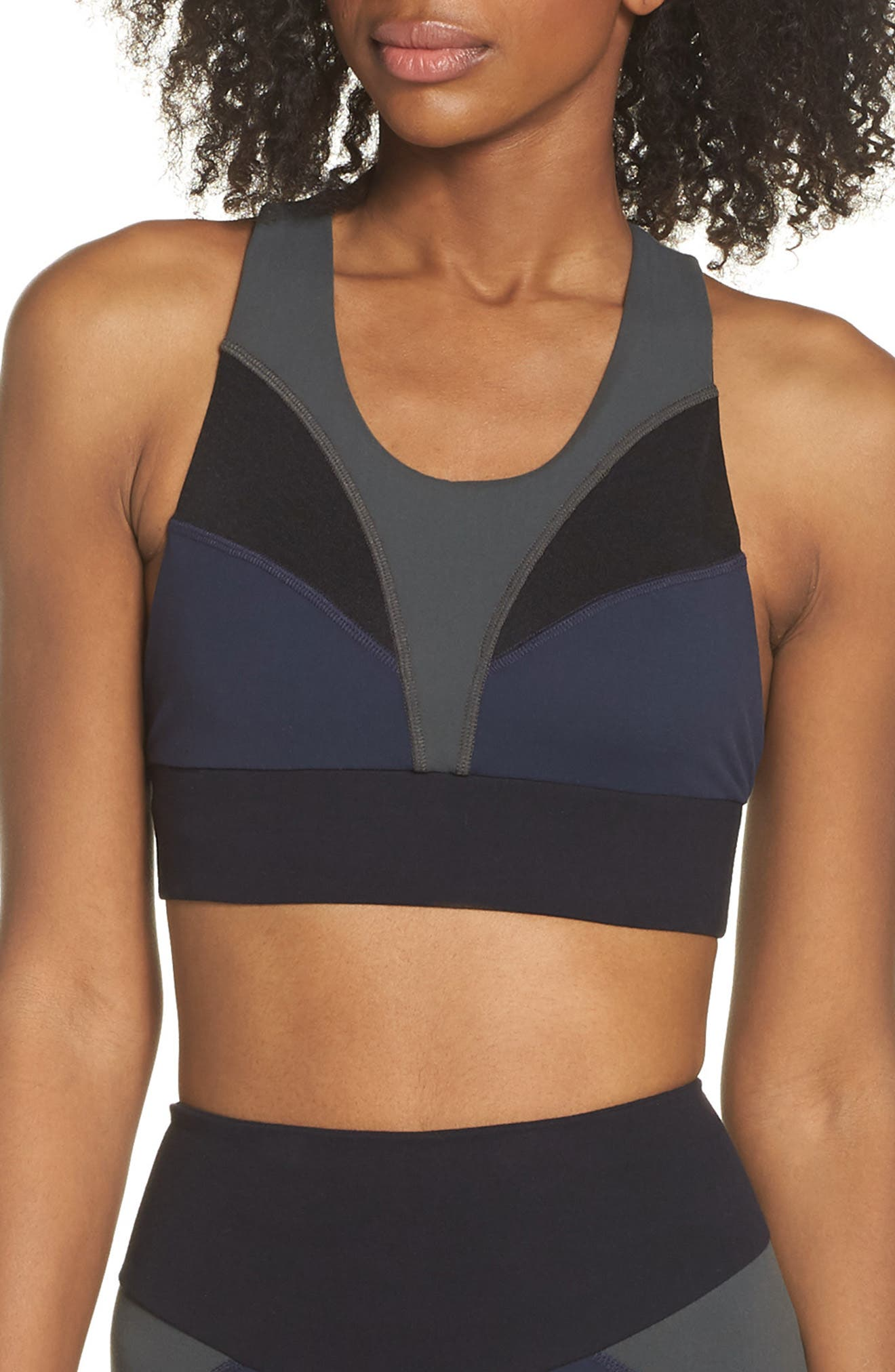 BoomBoom Athletica Brushed Tricolor Bra,                             Main thumbnail 1, color,                             Navy/ Black/ Green