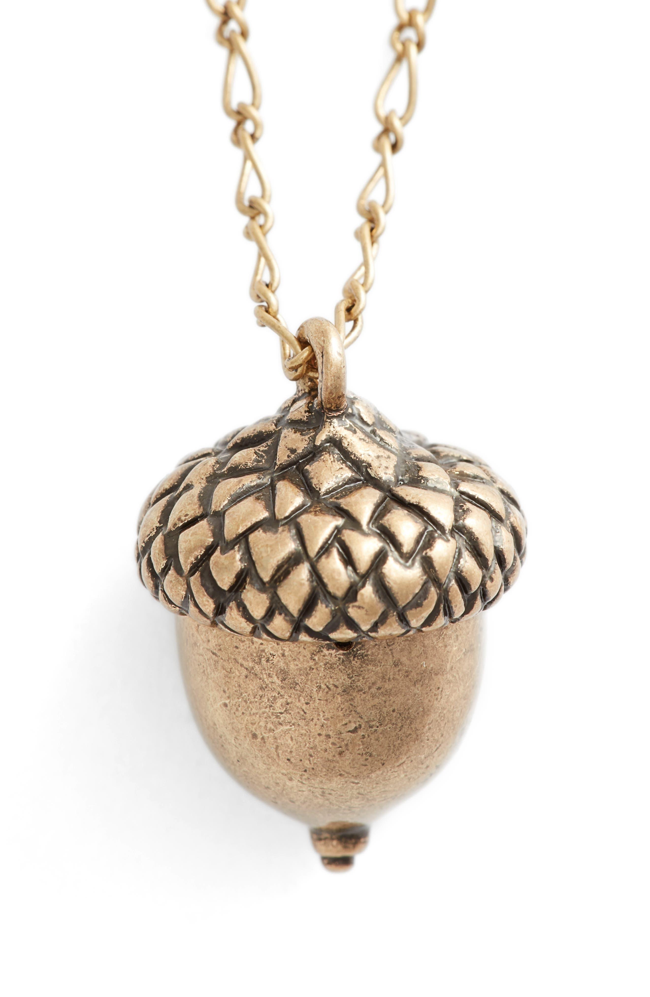 Short Acorn Necklace,                         Main,                         color, Brass