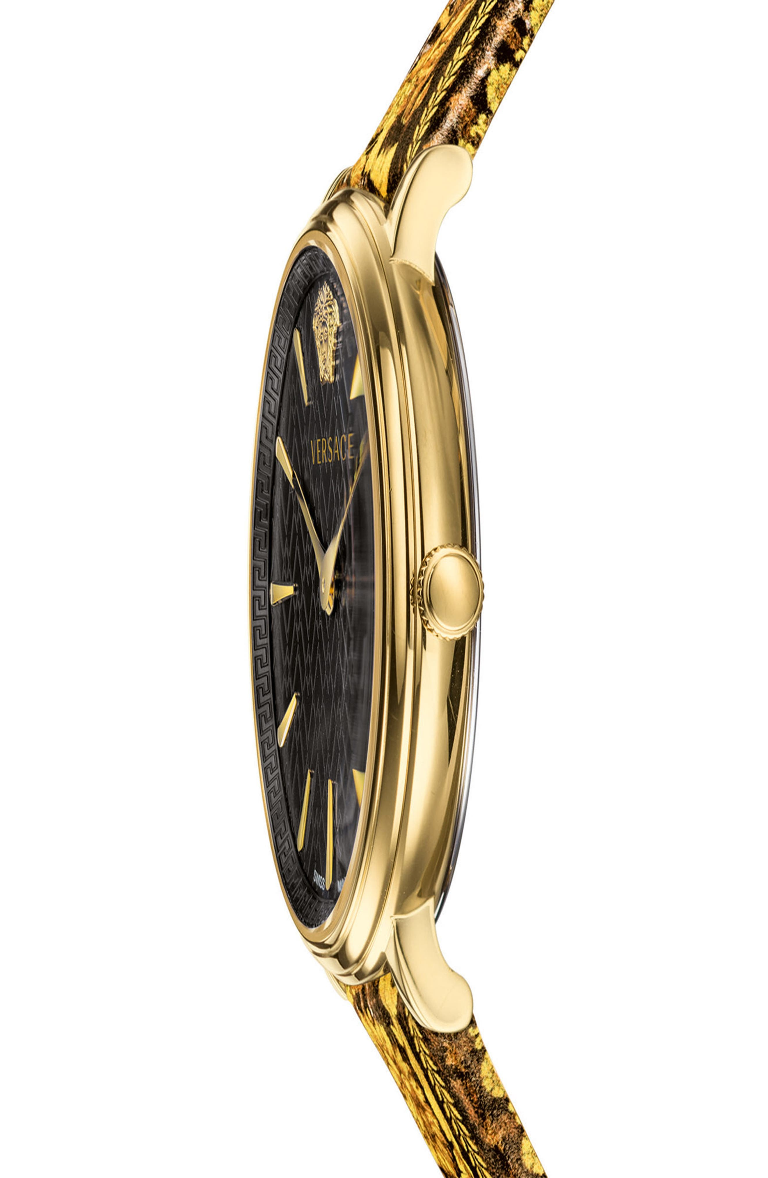 Tribute Collection Leather Strap Watch, 38mm,                             Alternate thumbnail 3, color,                             Black/ Gold