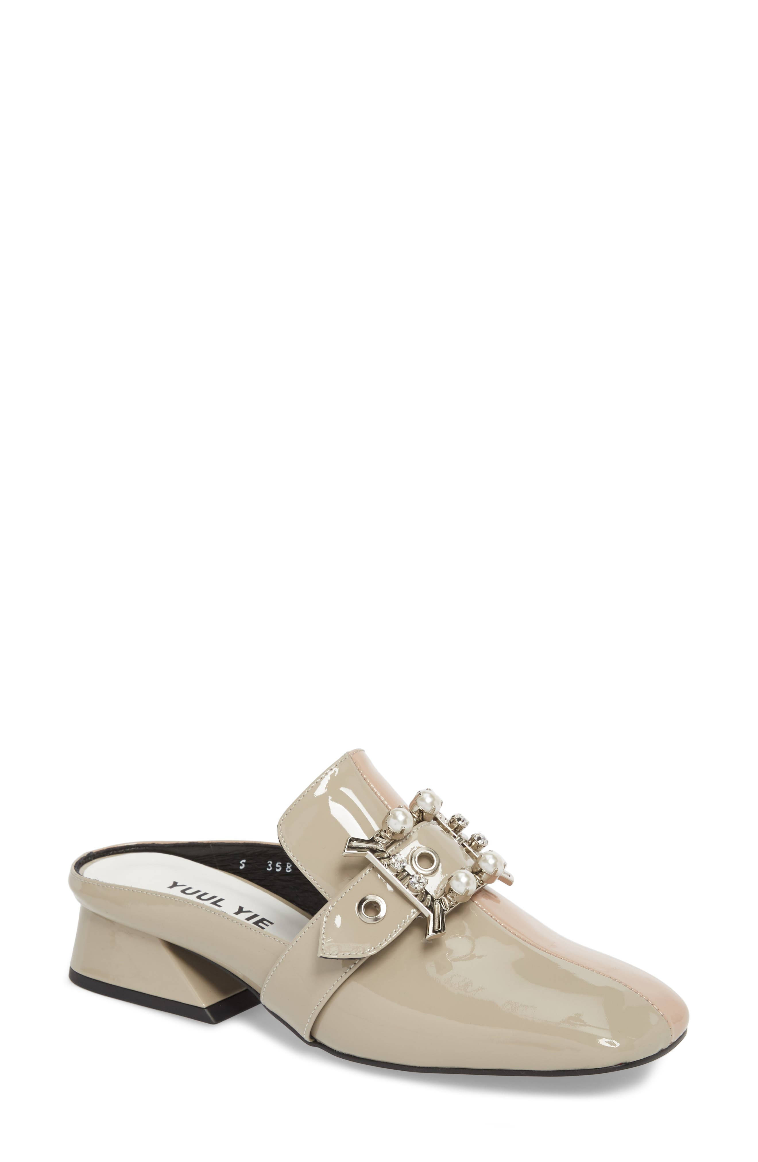 Embellished Loafer Mule,                             Main thumbnail 1, color,                             Pink Beige/ Cement