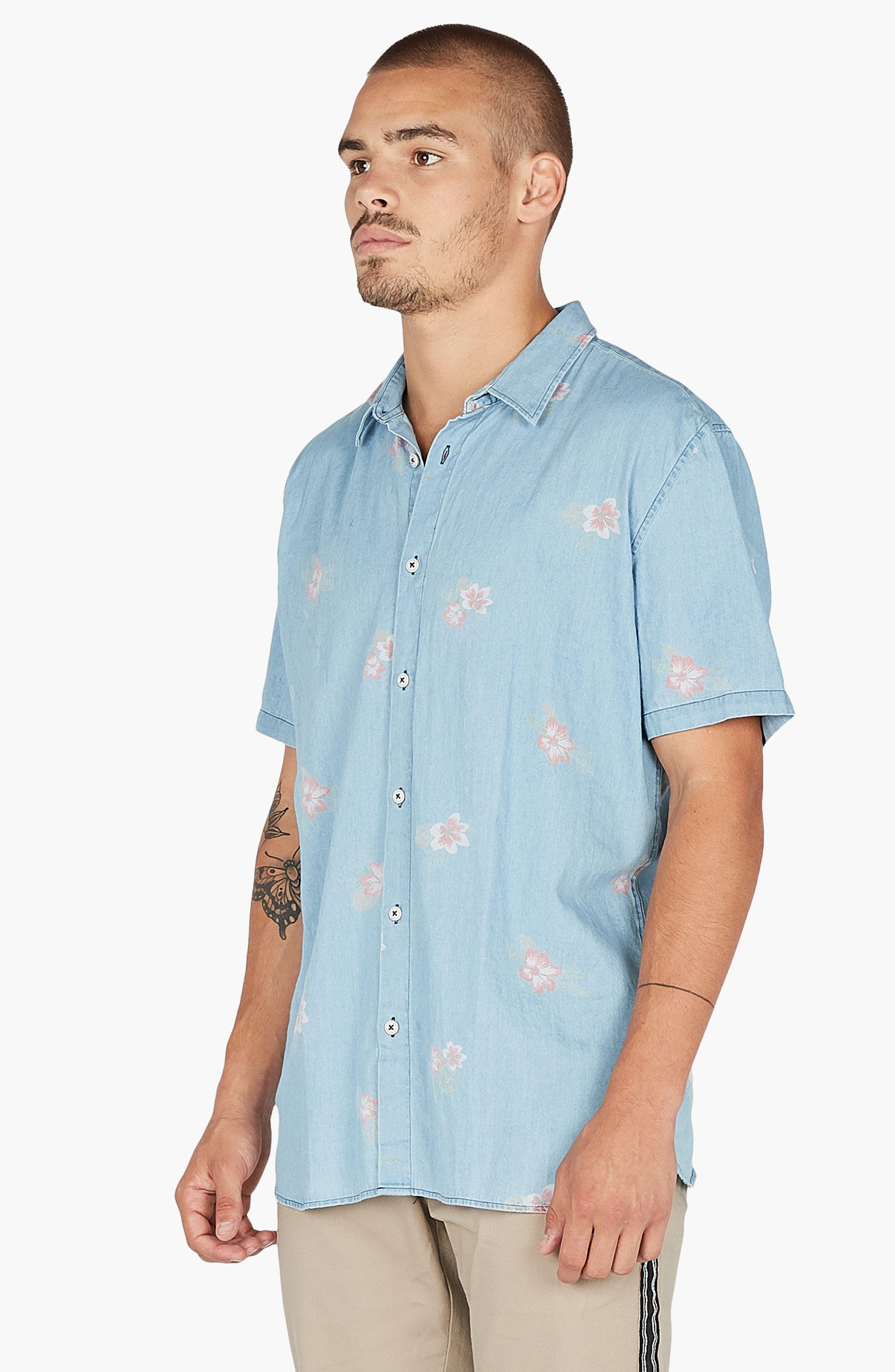 Holiday Woven Shirt,                             Alternate thumbnail 2, color,                             Indigo/ Floral