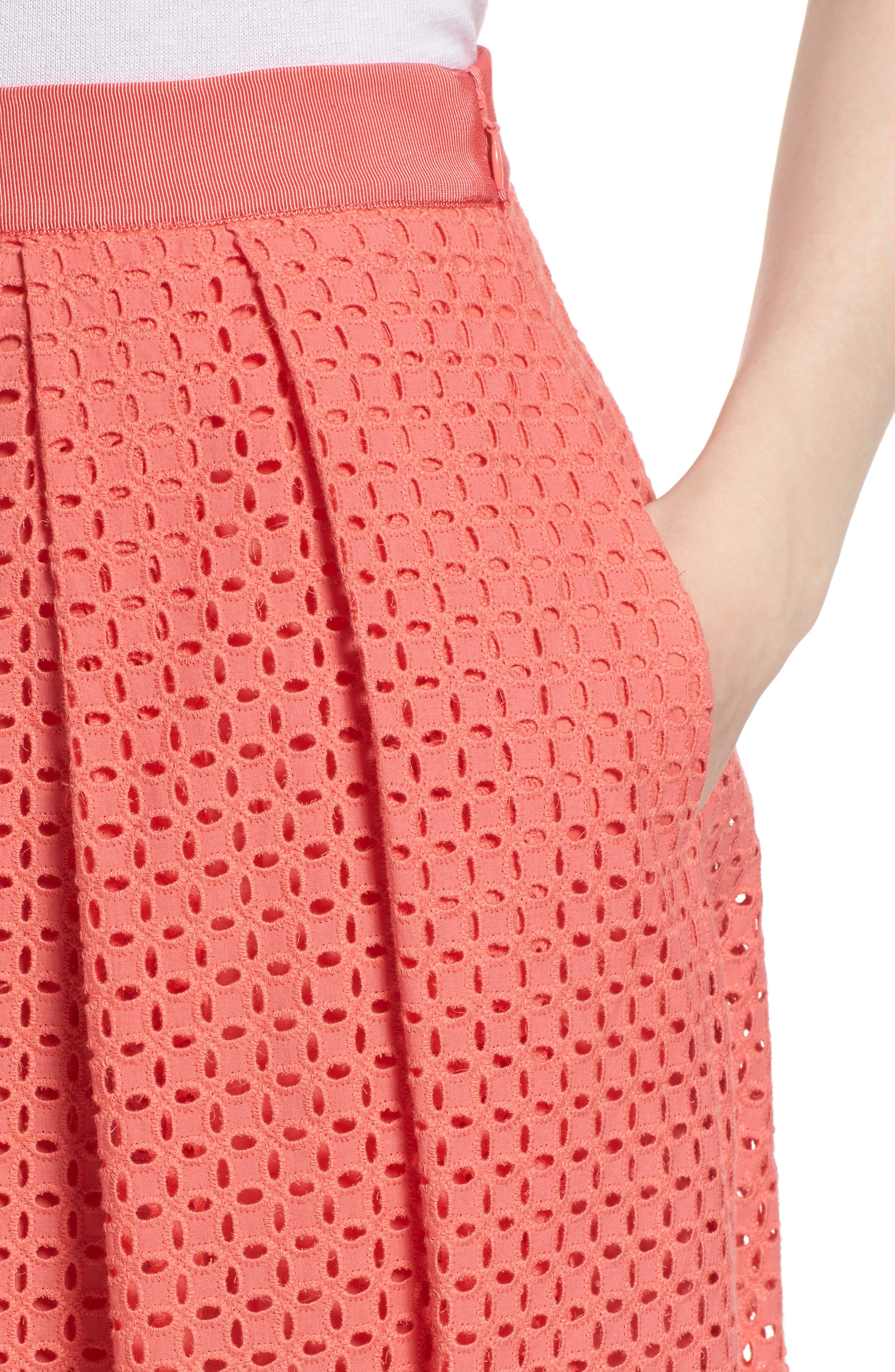 Eyelet A-Line Skirt,                             Alternate thumbnail 4, color,                             Coral Sugar