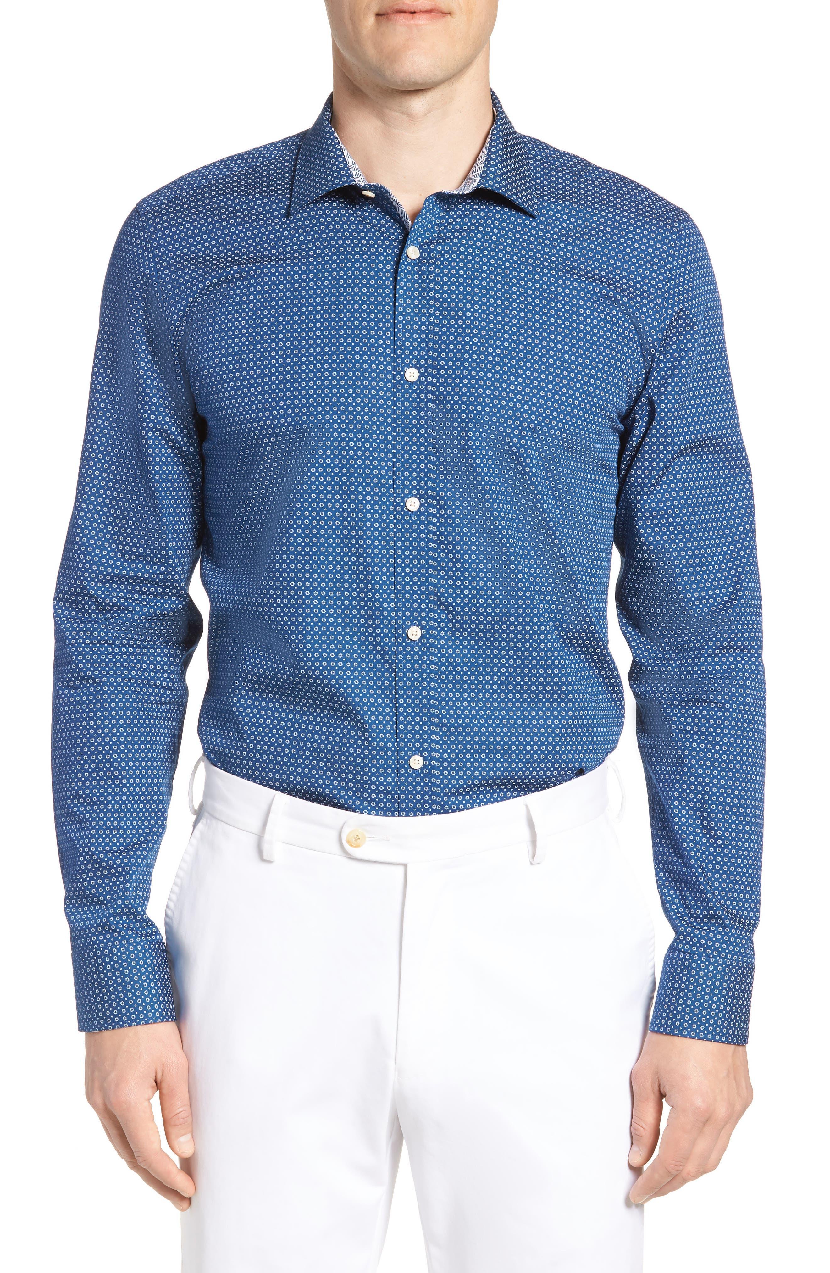 Loops Slim Fit Dress Shirt,                             Main thumbnail 1, color,                             Navy