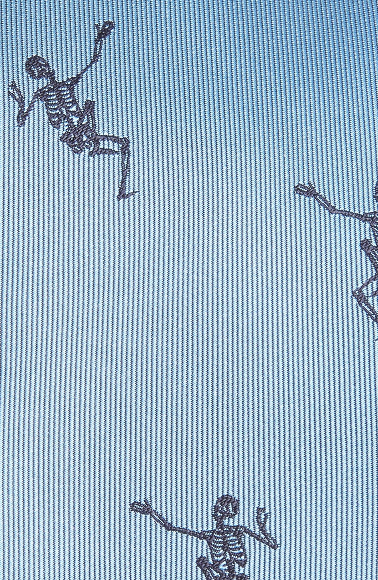 Dancing Skeleton Silk Tie,                             Alternate thumbnail 2, color,                             Sky Blue