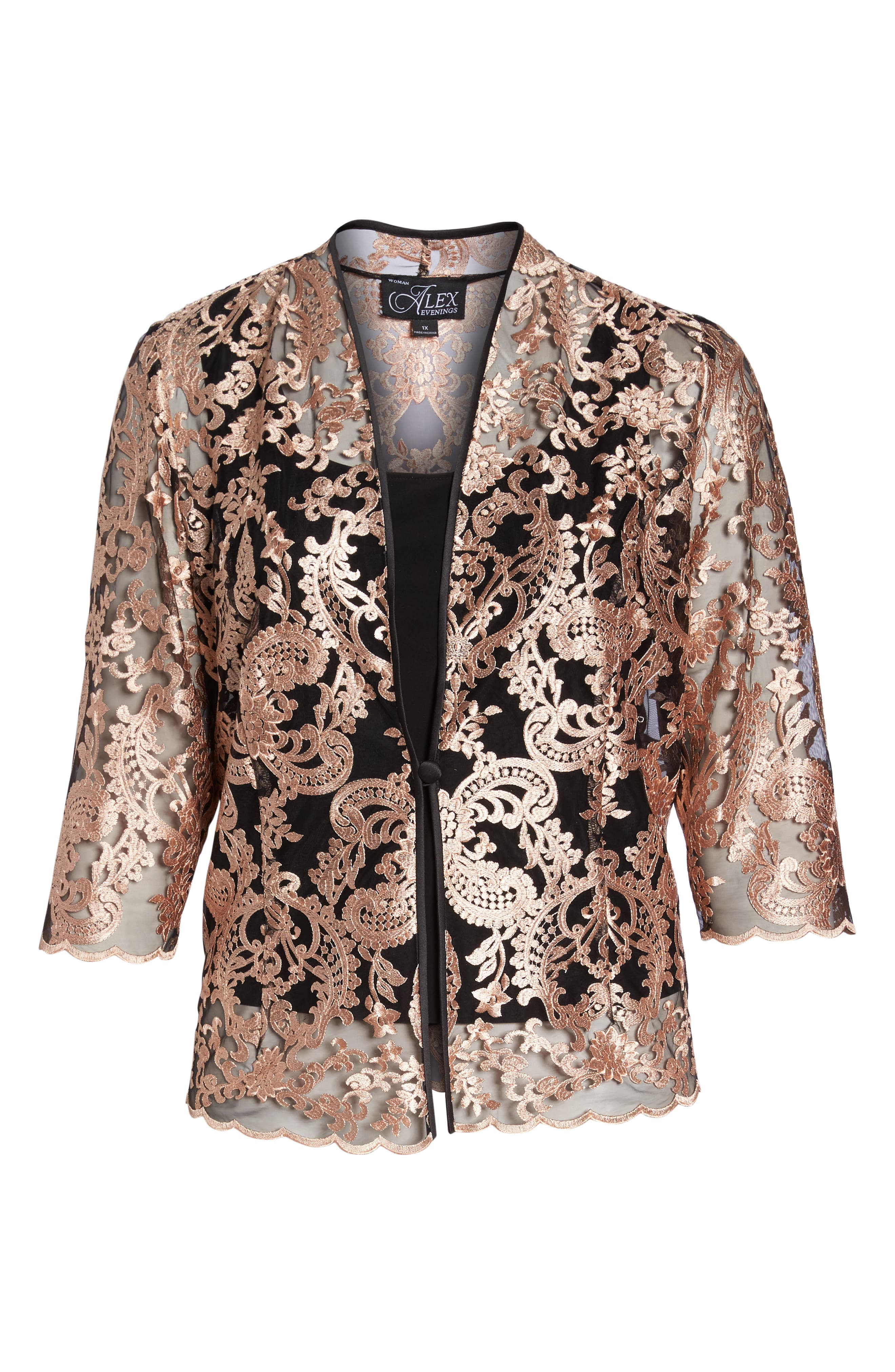 Top & Embroidered Jacket,                             Alternate thumbnail 6, color,                             Black/ Coral