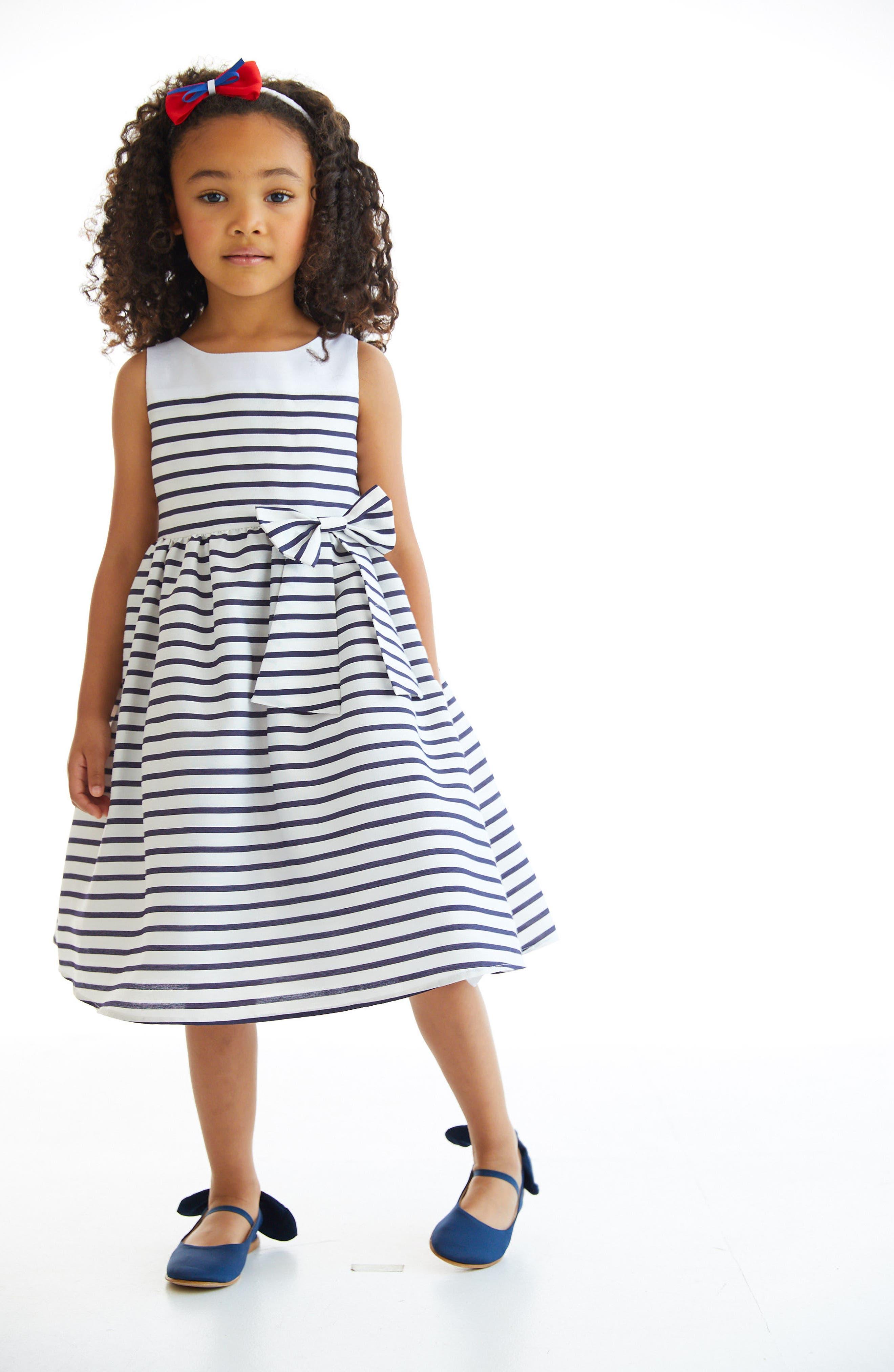 Kelly Stripe Fit & Flare Dress,                             Alternate thumbnail 2, color,                             Ivory/ White