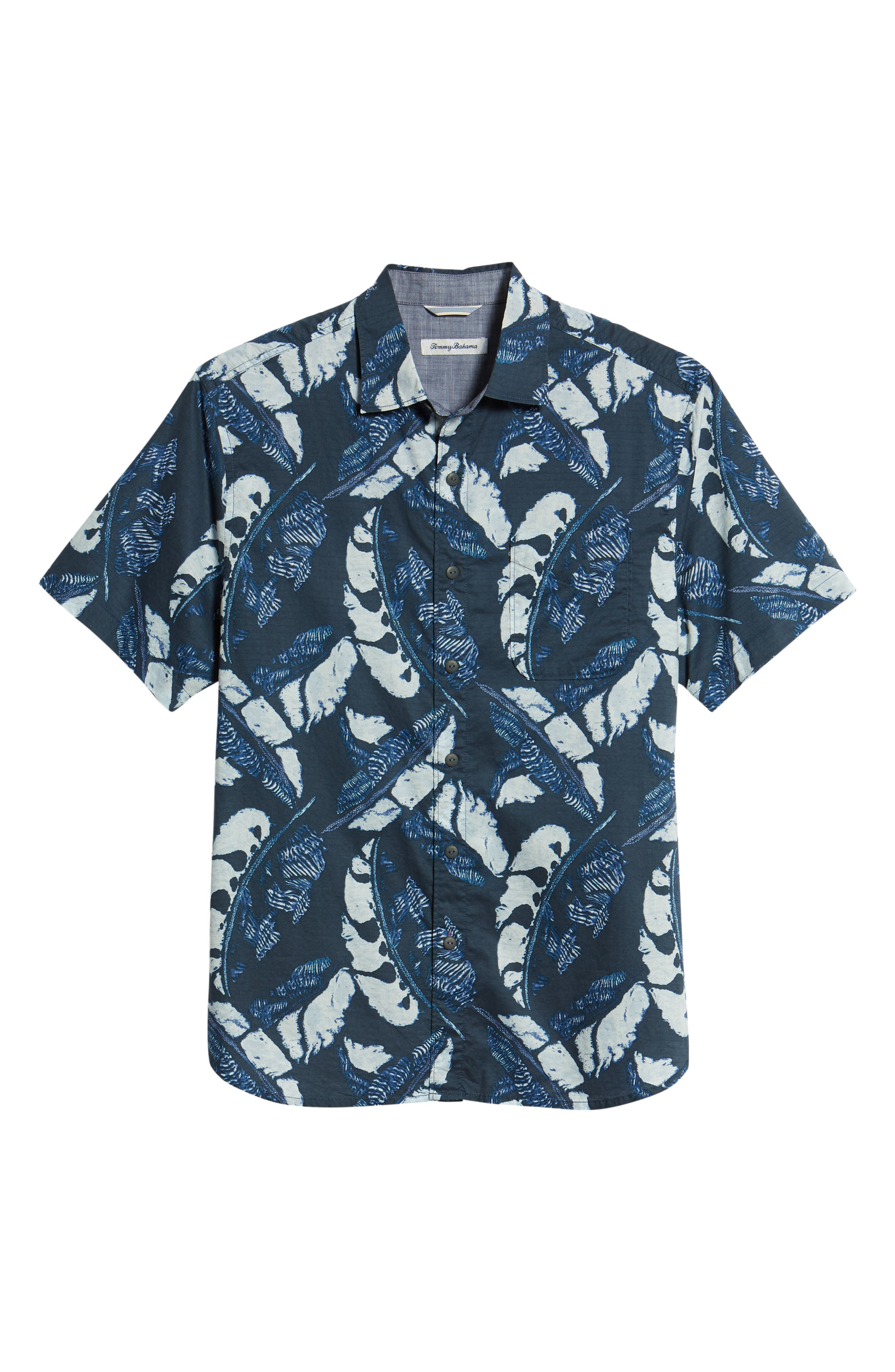 Lunar Leaves Sport Shirt,                             Alternate thumbnail 6, color,                             Ocean Deep