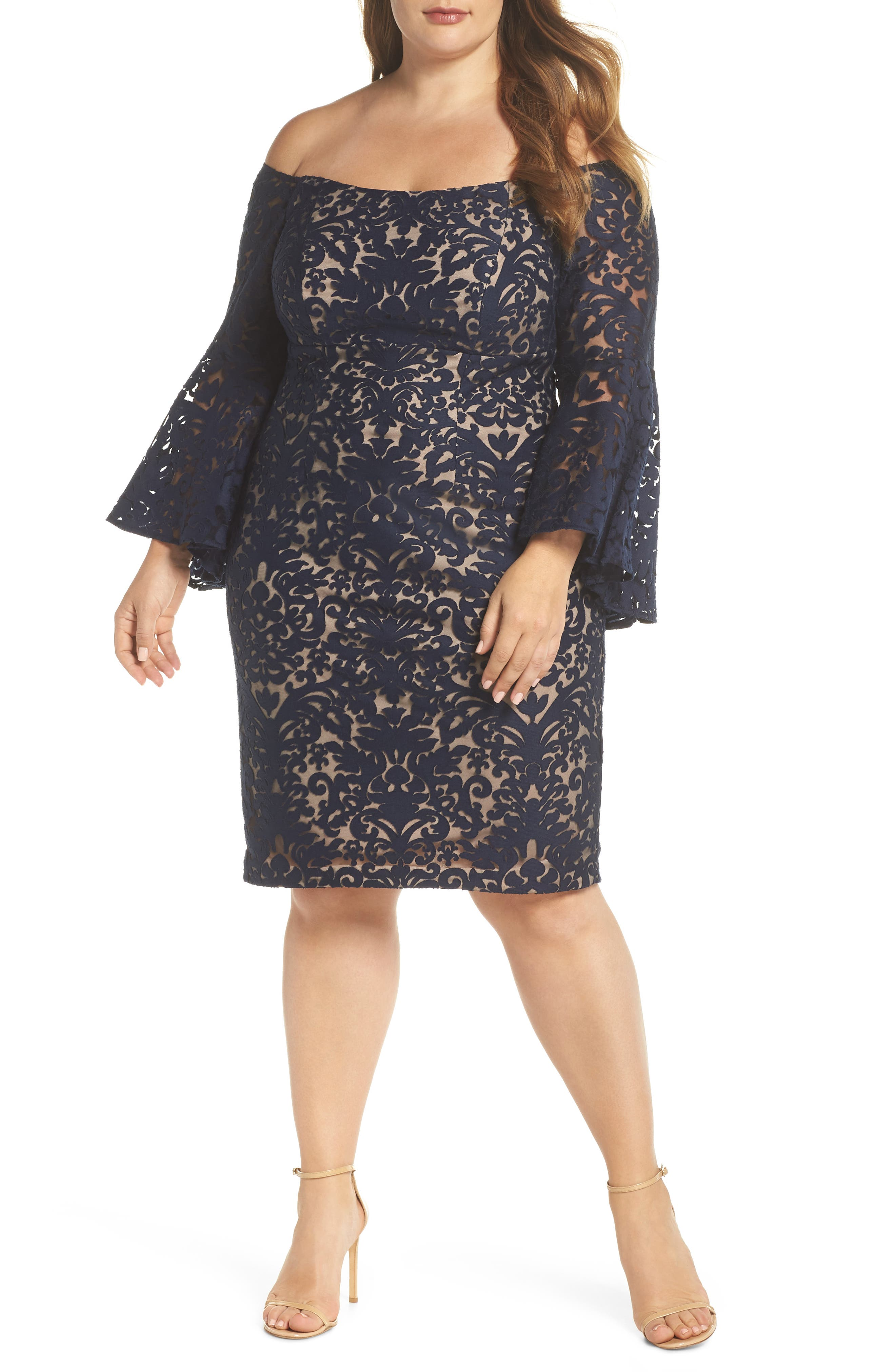 Bell Sleeve Off the Shoulder Burnout Lace Dress,                             Main thumbnail 1, color,                             Navy/ Nude