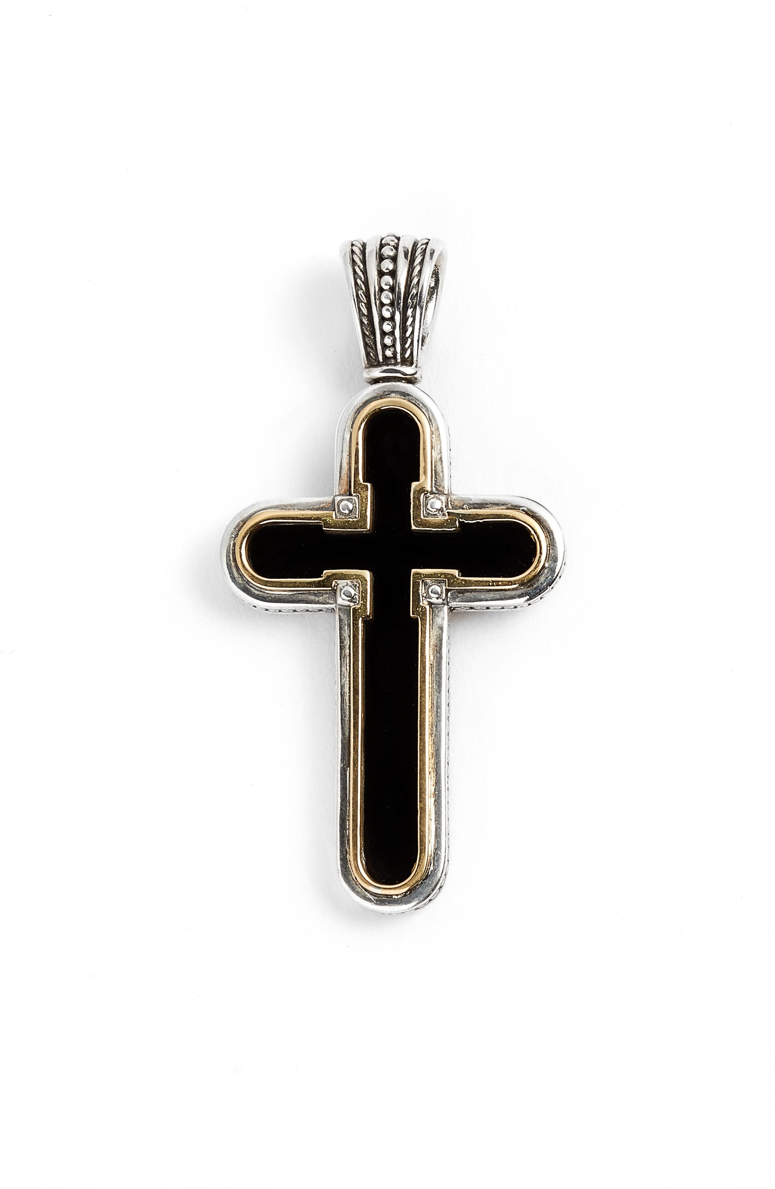 Stavros Onyx Cross Enhancer,                             Main thumbnail 1, color,                             Silver/ Gold/ Onyx