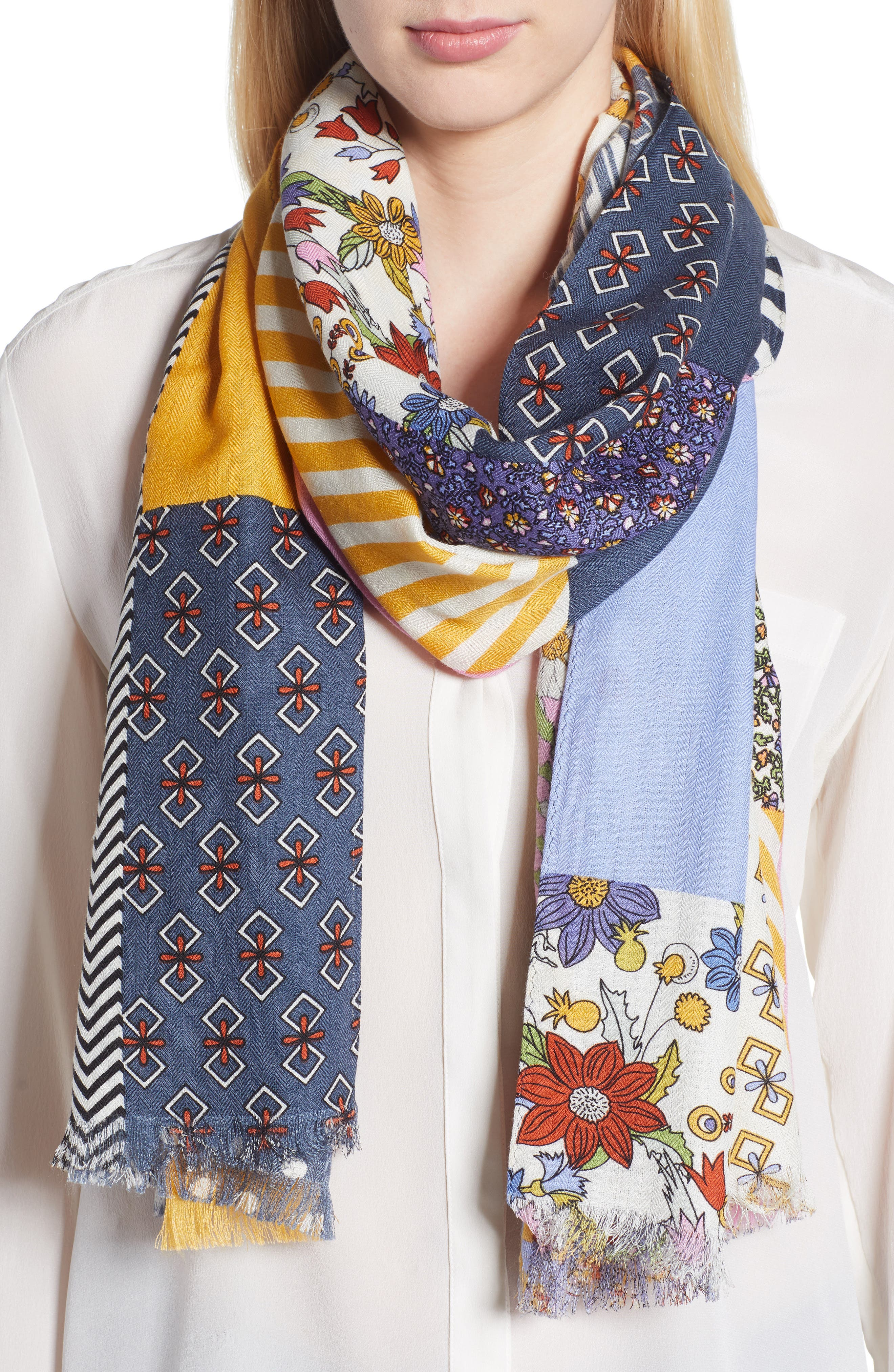 Patchwork Printed Oblong Scarf,                             Main thumbnail 1, color,                             Multi