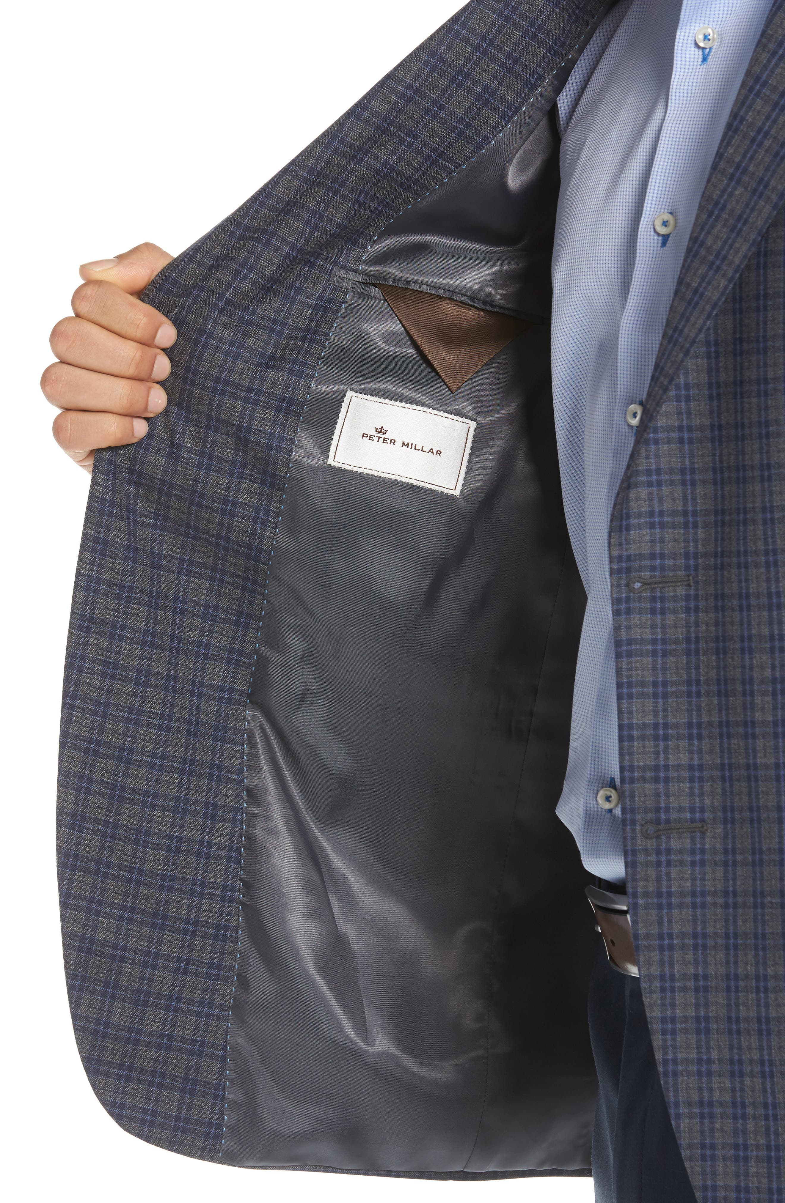Classic Fit Check Wool Sport Coat,                             Alternate thumbnail 4, color,                             Grey