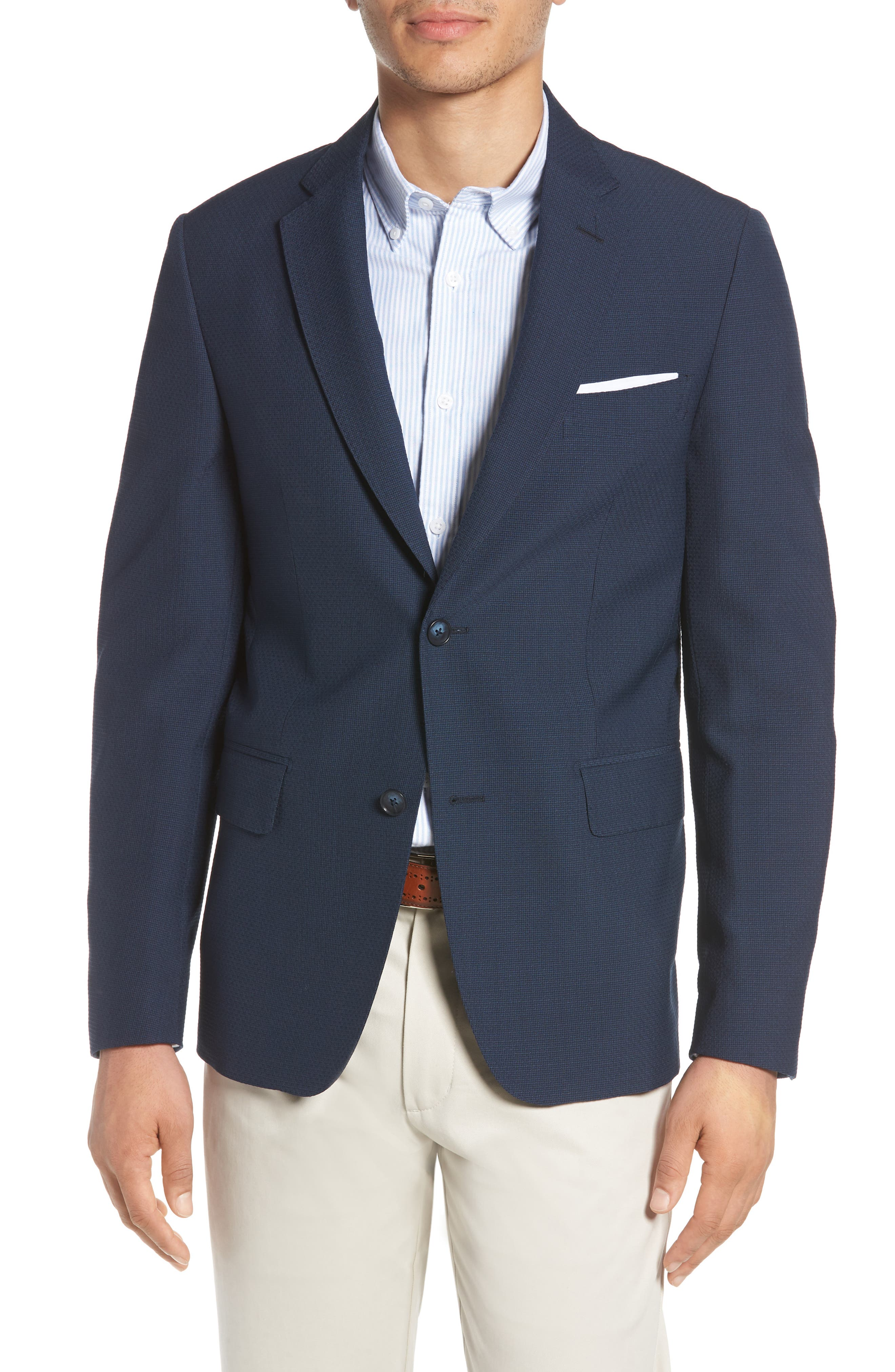 Traditional Fit Solid Wool Blend Sport Coat,                         Main,                         color, Blue