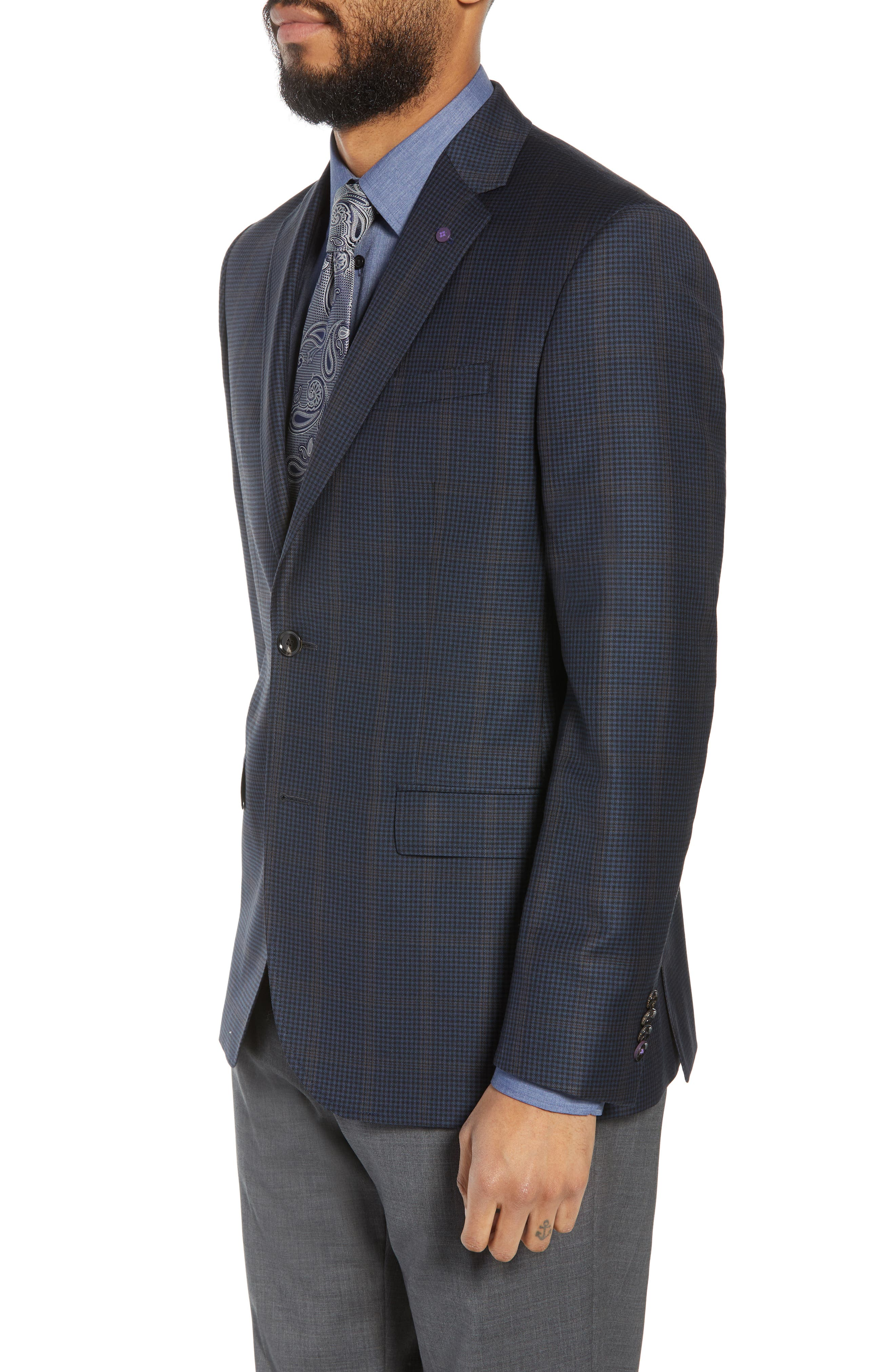 Jay Trim Fit Houndstooth Wool Sport Coat,                             Alternate thumbnail 3, color,                             Blue