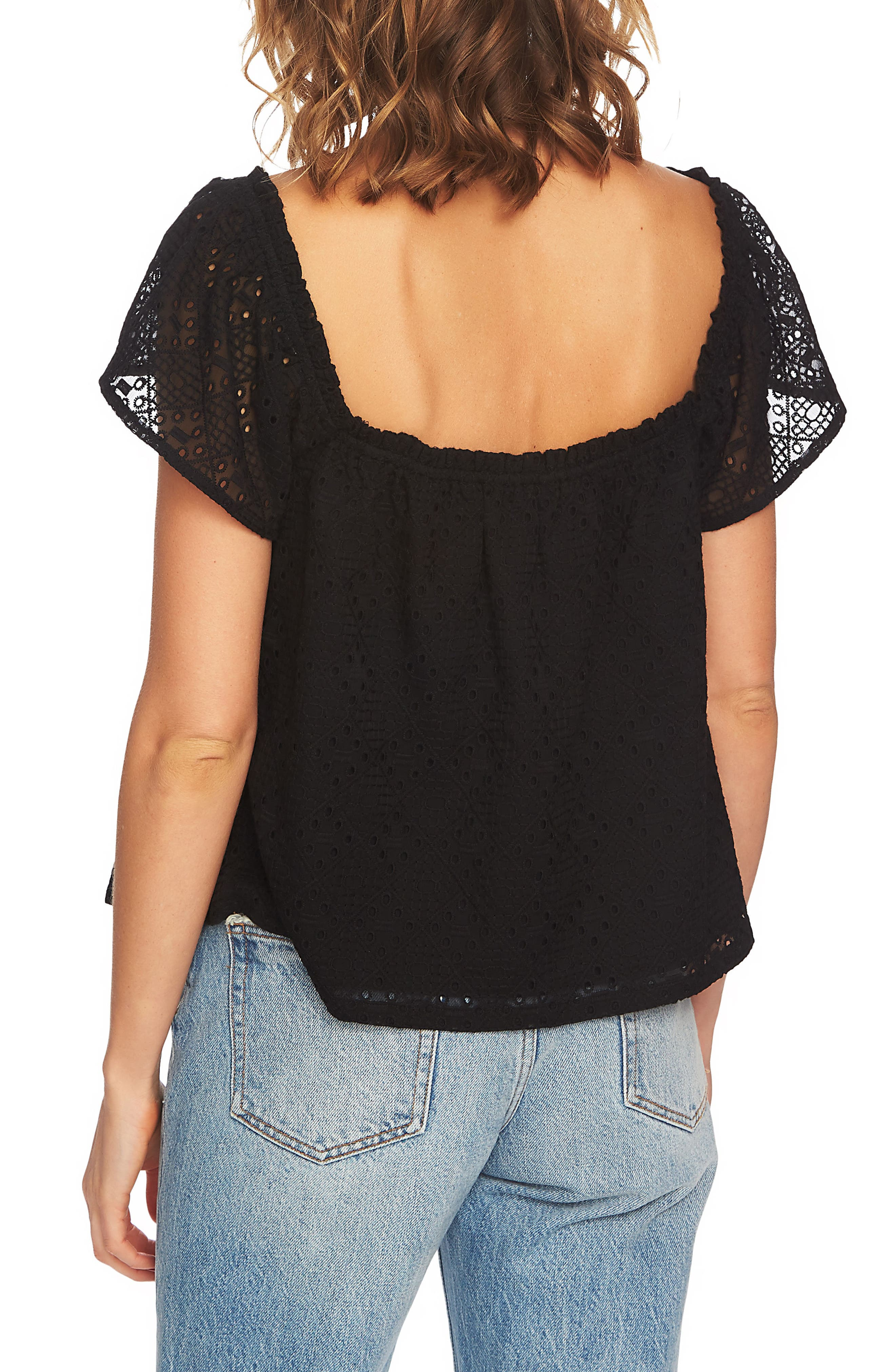 Embroidered Blouse,                             Alternate thumbnail 2, color,                             Rich Black