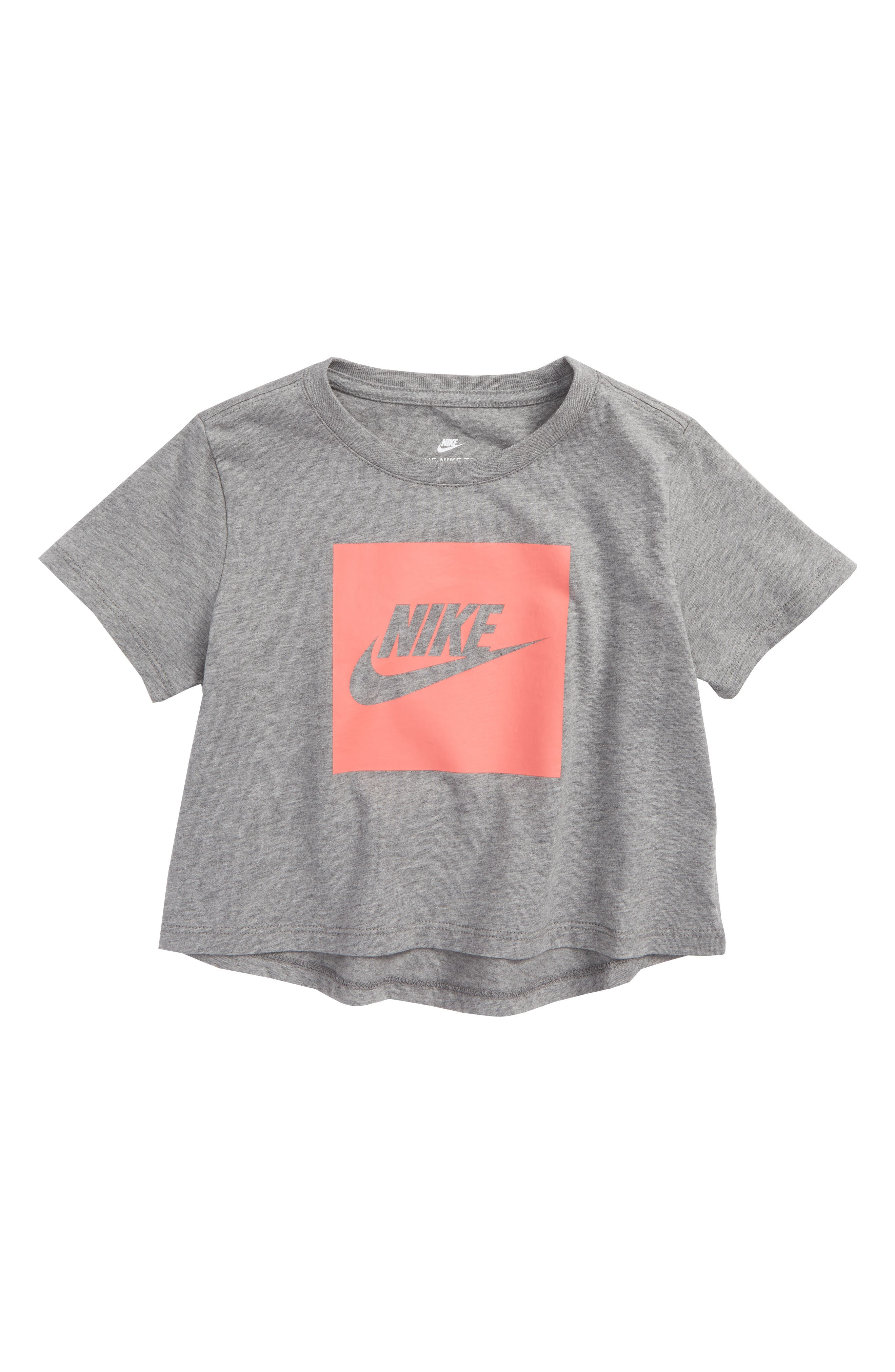 Sportswear Logo Graphic Crop Tee,                             Main thumbnail 1, color,                             Carbon Heather/ Sea Coral
