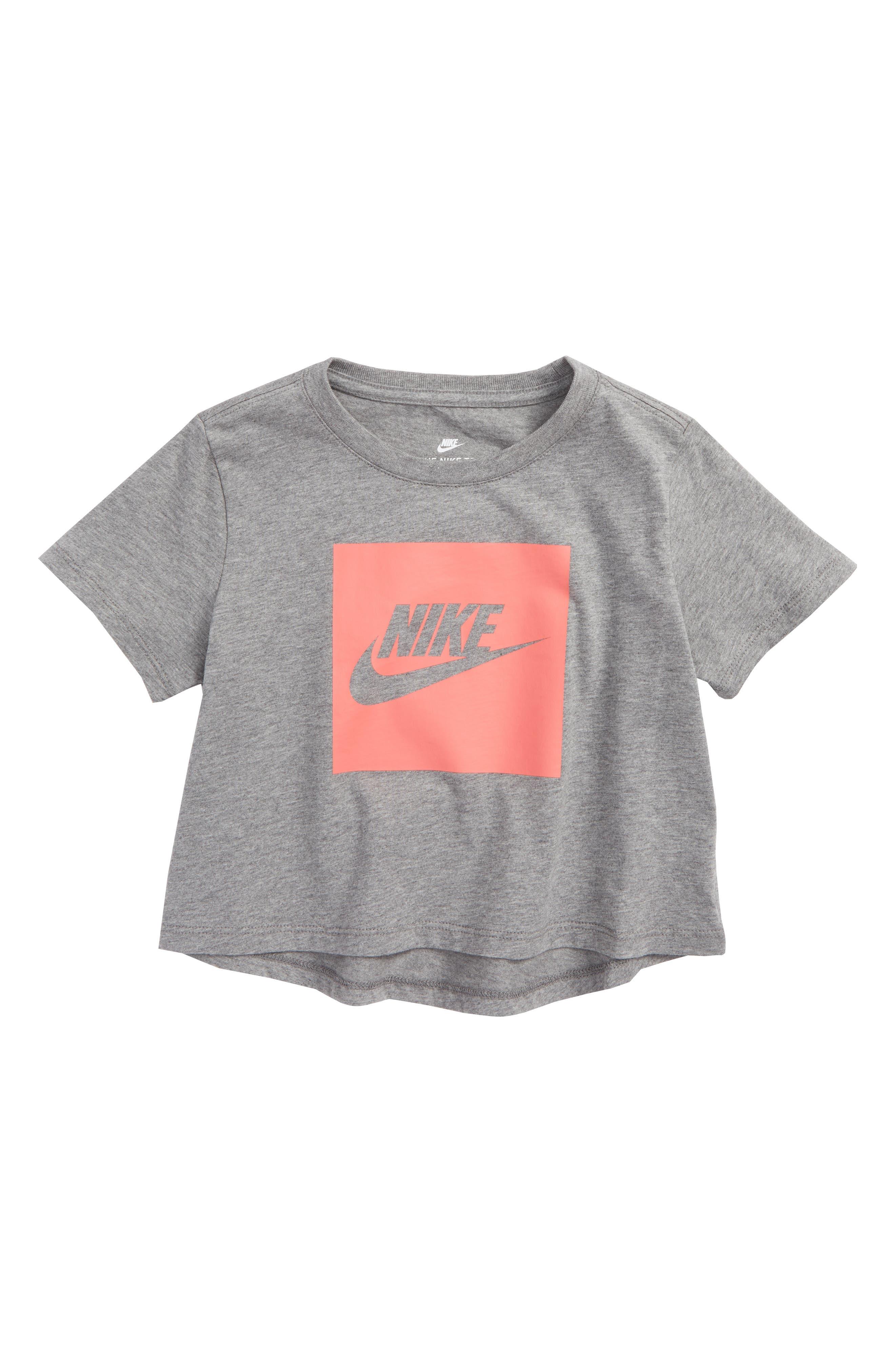 Main Image - Nike Sportswear Logo Graphic Crop Tee (Big Girls)