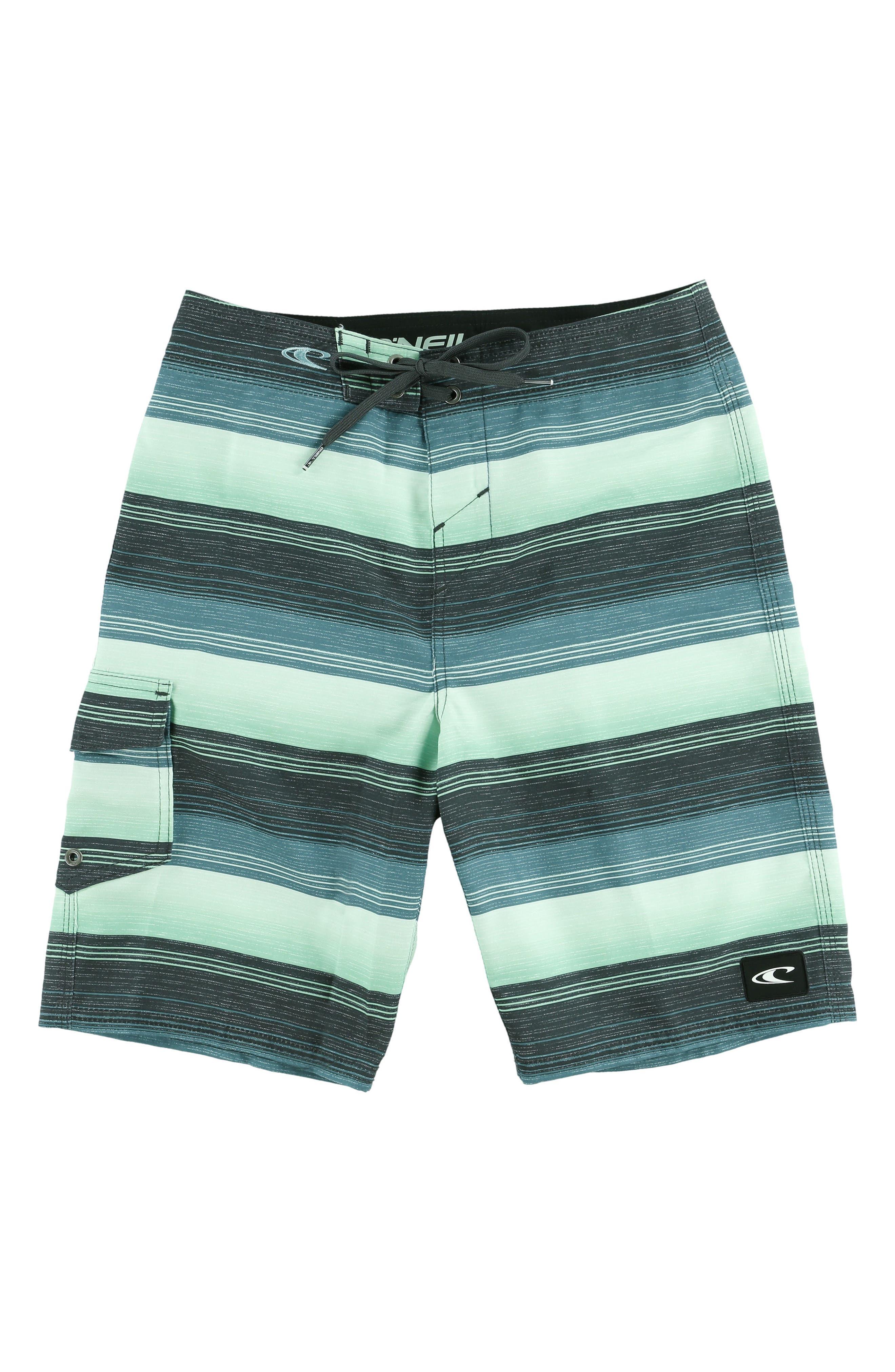 Santa Cruz Stripe Board Shorts,                             Main thumbnail 1, color,                             Turq