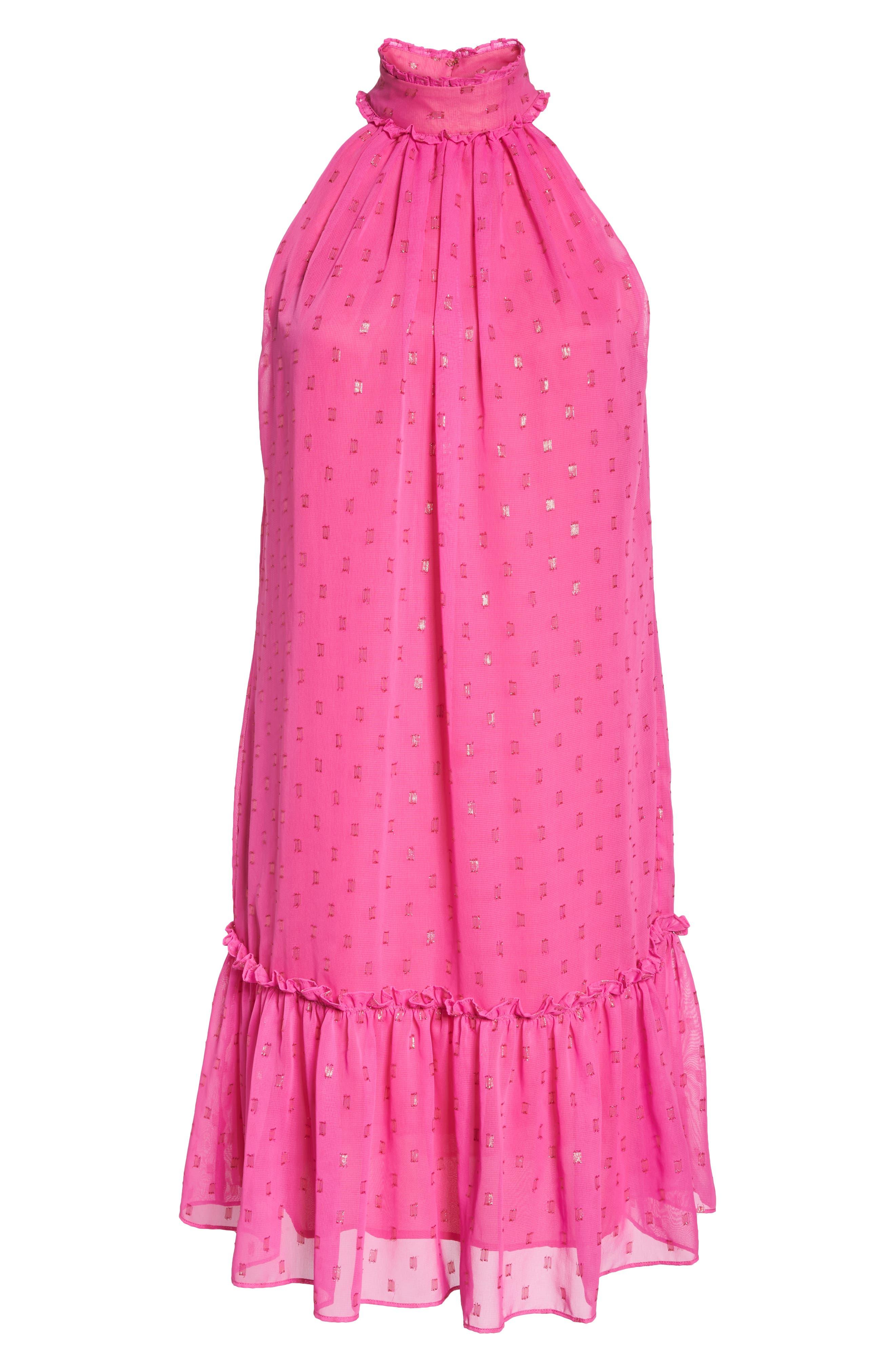 Bodega Bay Chiffon Shift Dress,                             Alternate thumbnail 7, color,                             Brilliant Fuchsia