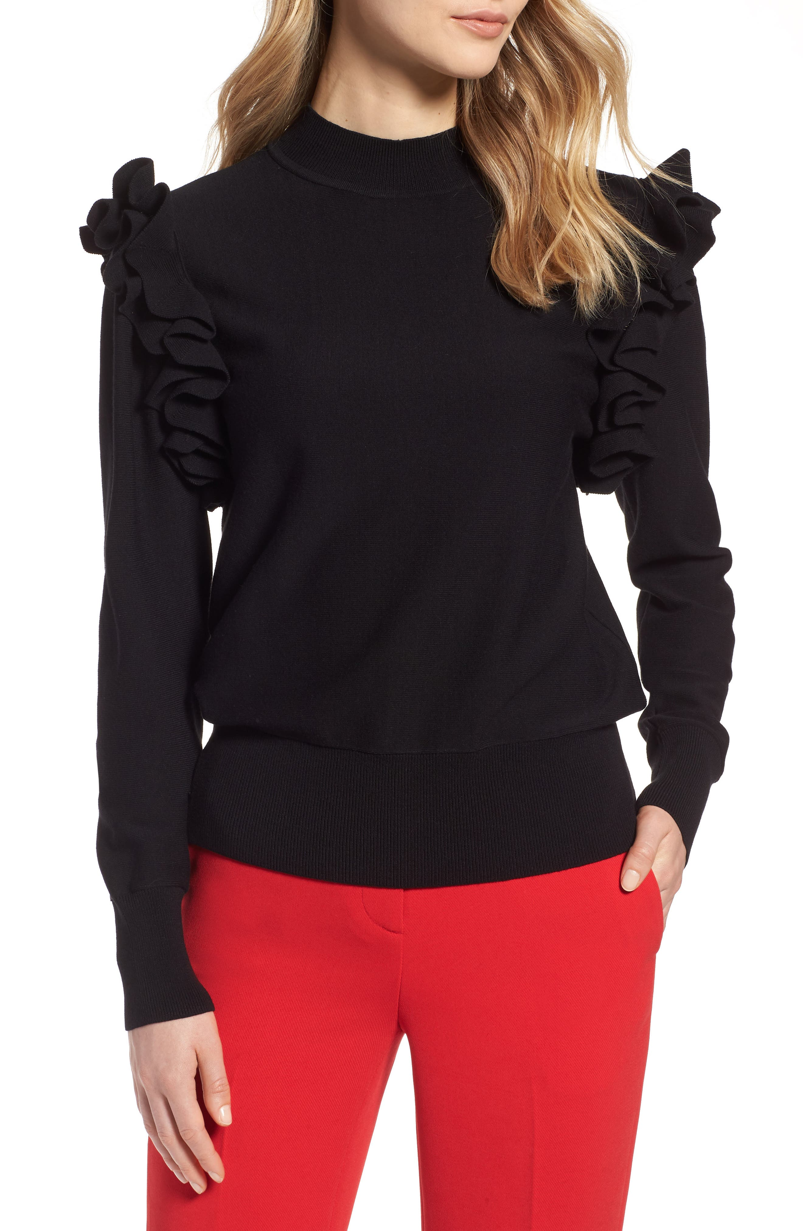 Detachable Sleeve Sweater, Main, color, Black
