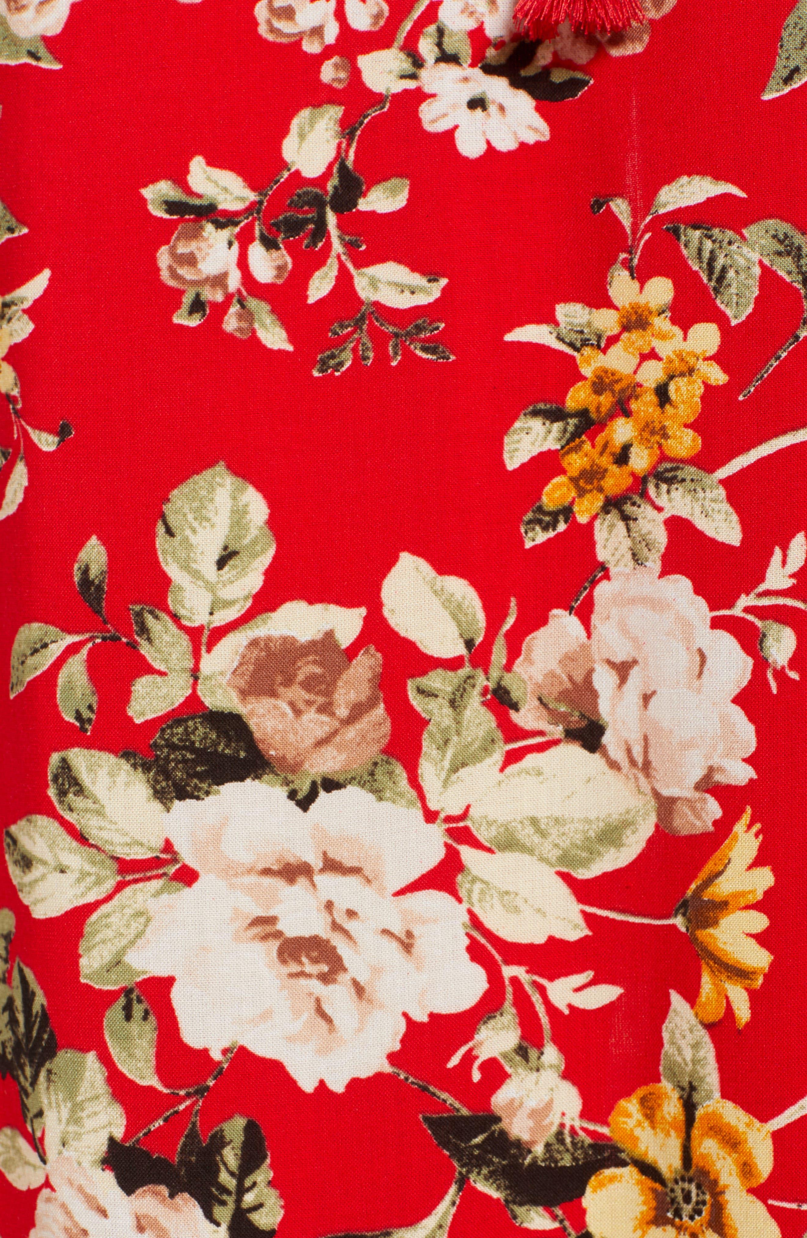 Ruffle Maxi Dress,                             Alternate thumbnail 6, color,                             483 Red
