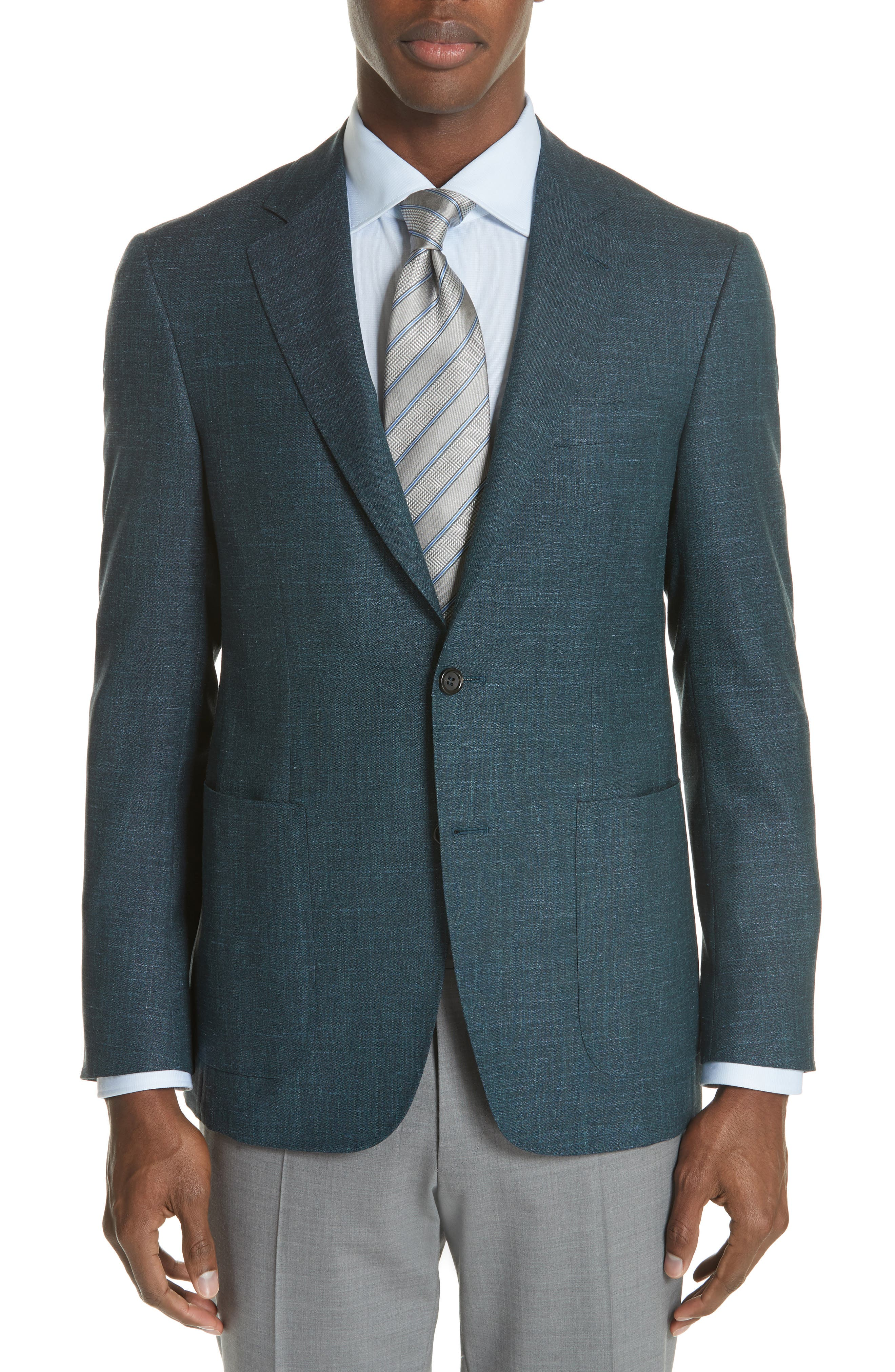 Classic Fit Wool Blend Blazer,                         Main,                         color, Green