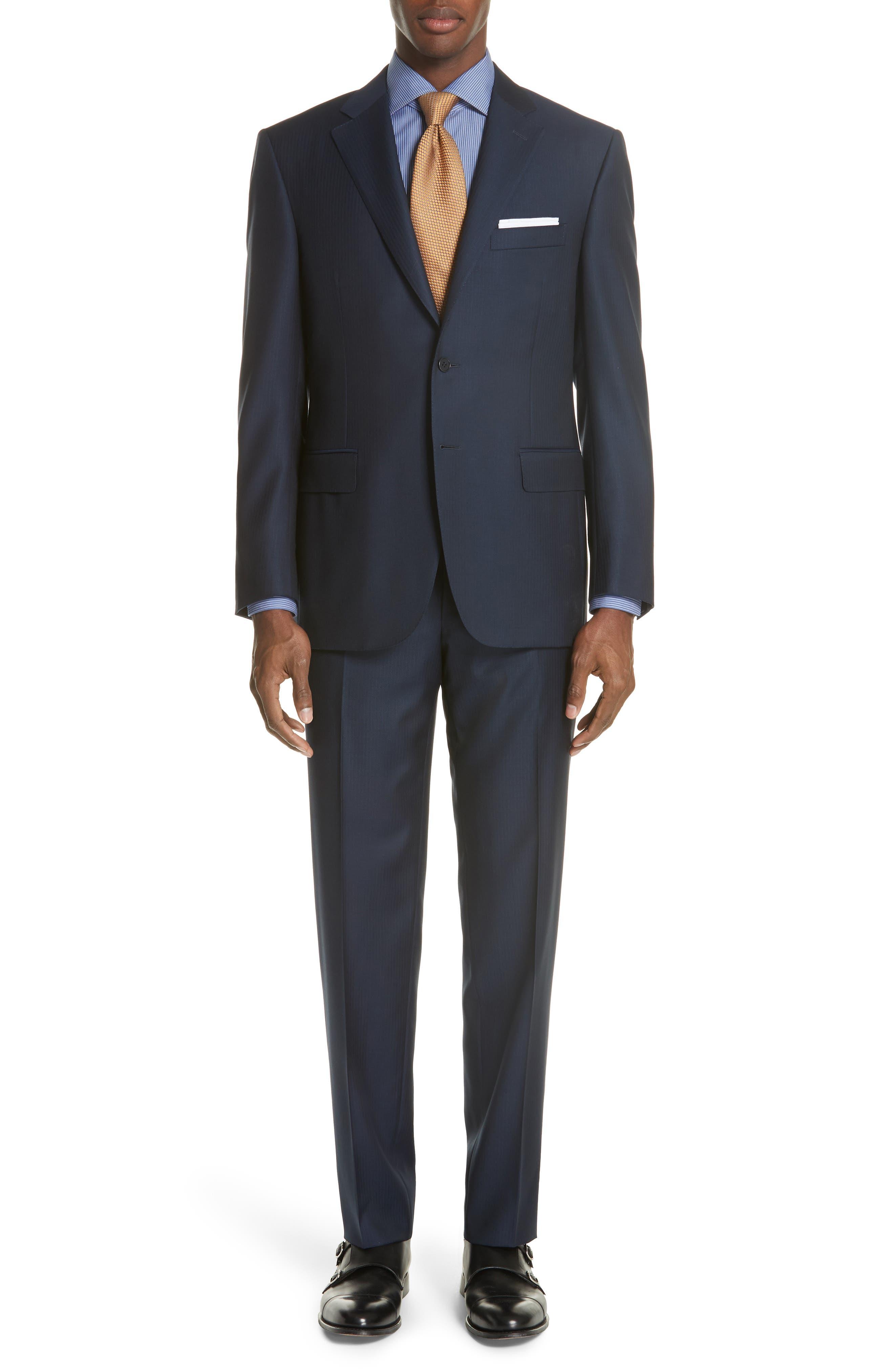 Canali Classic Fit Herringbone Wool Suit