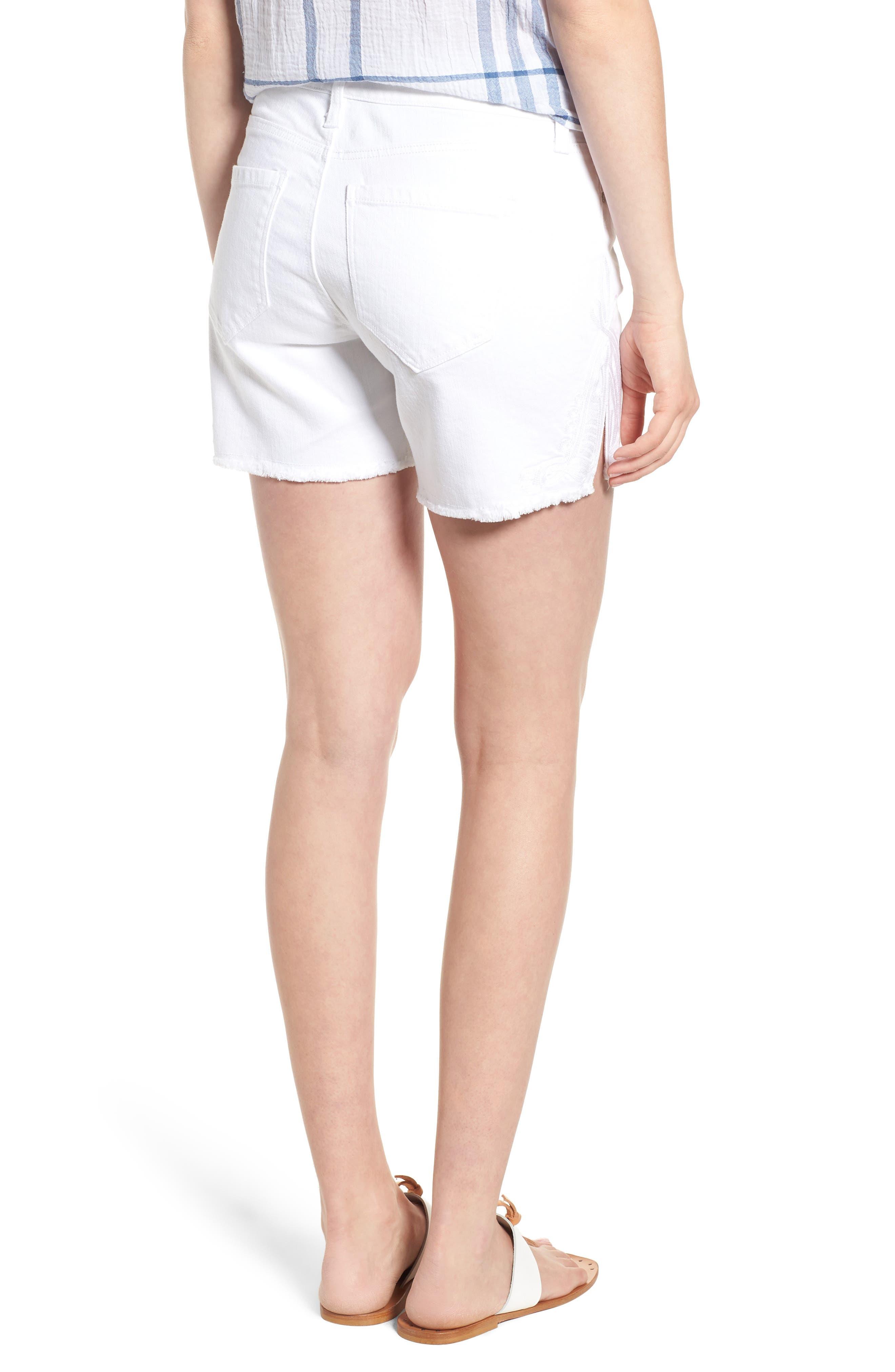 Embroidered Side Slit Shorts,                             Alternate thumbnail 2, color,                             Bright White