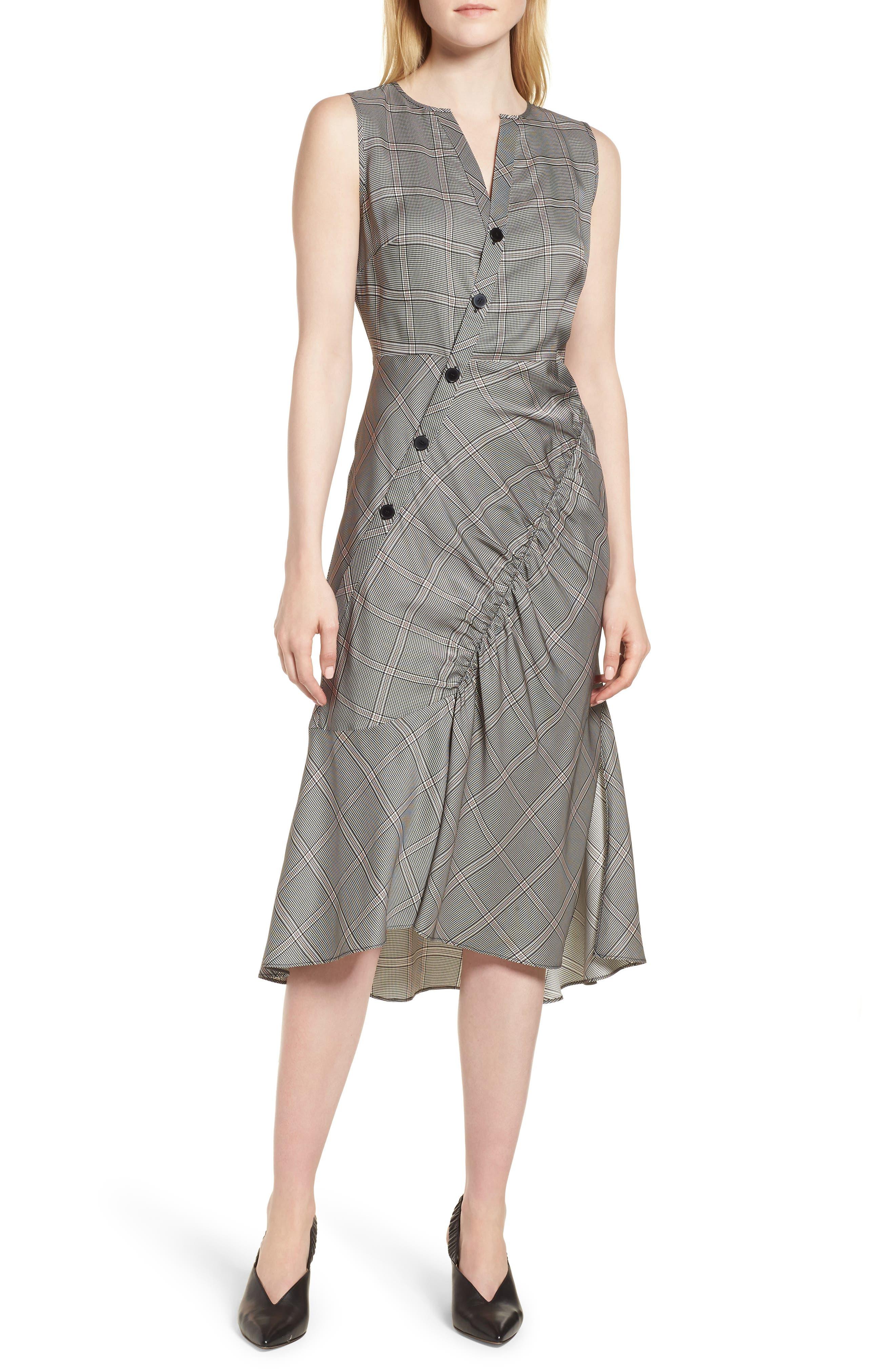 Seam Detail Sleeveless Check Dress,                             Main thumbnail 1, color,                             Black York Check